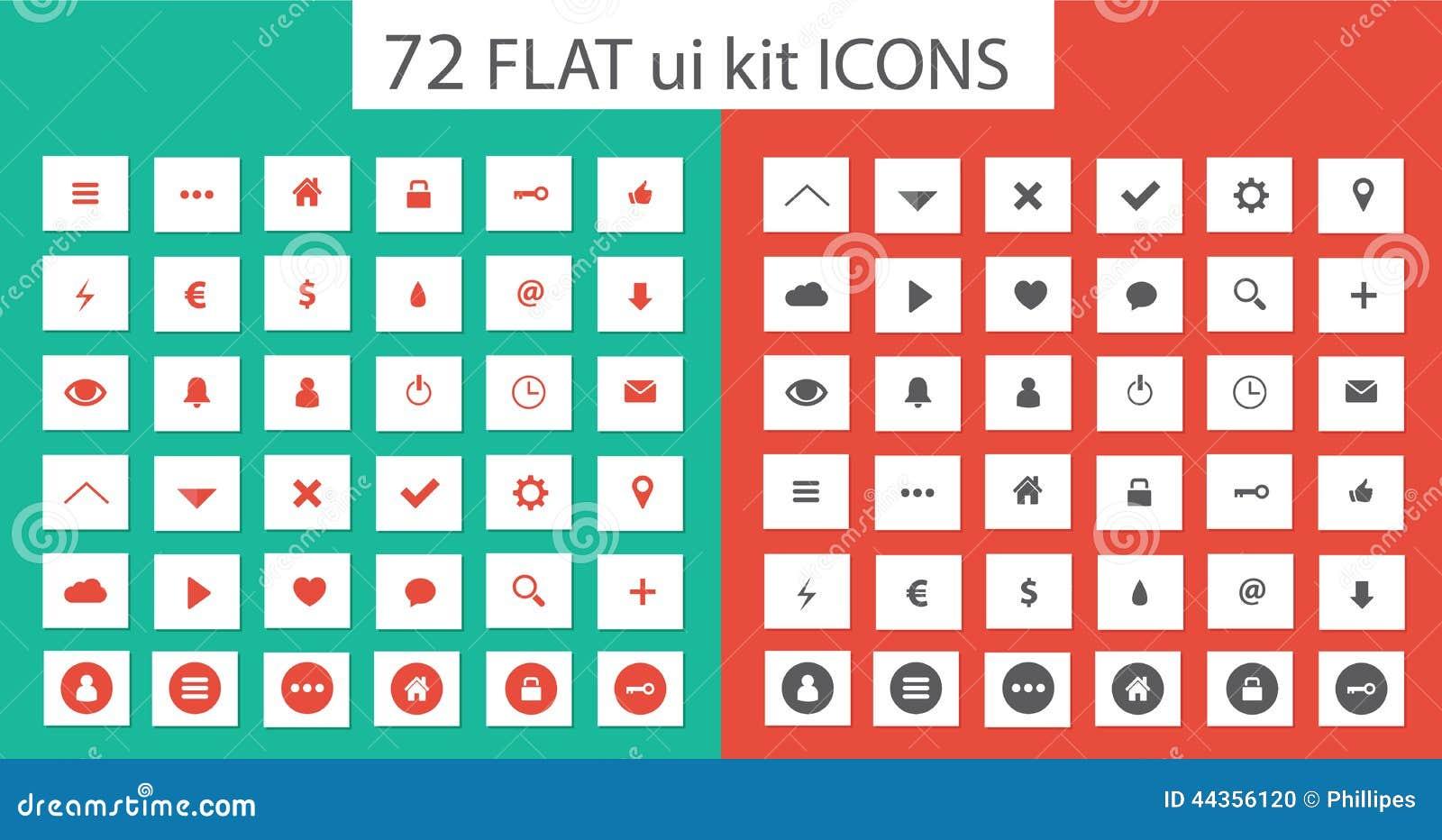Icone stabilite del corredo piano di ui per webdesign