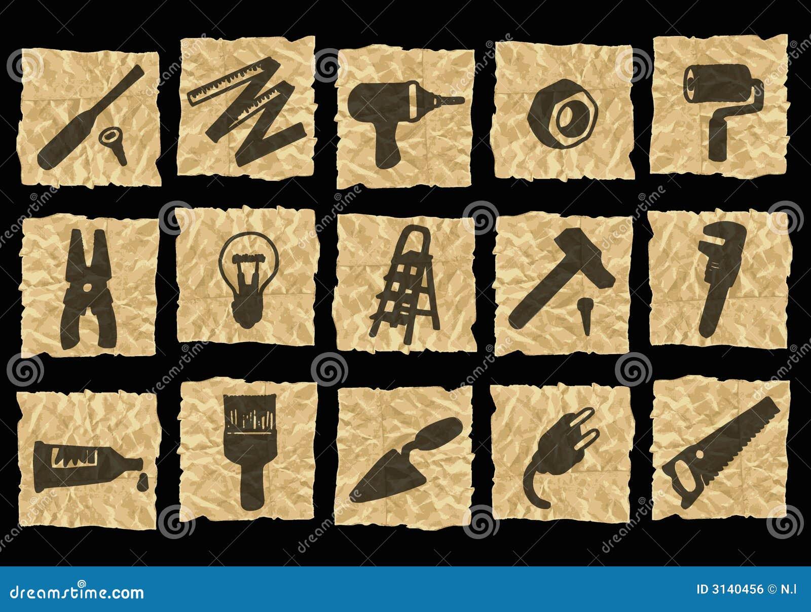 Icone su documento sgualcito