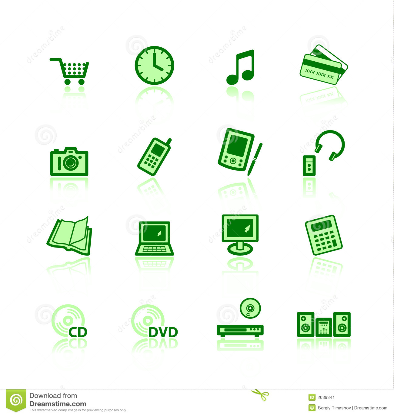 Icone verdi di commercio elettronico