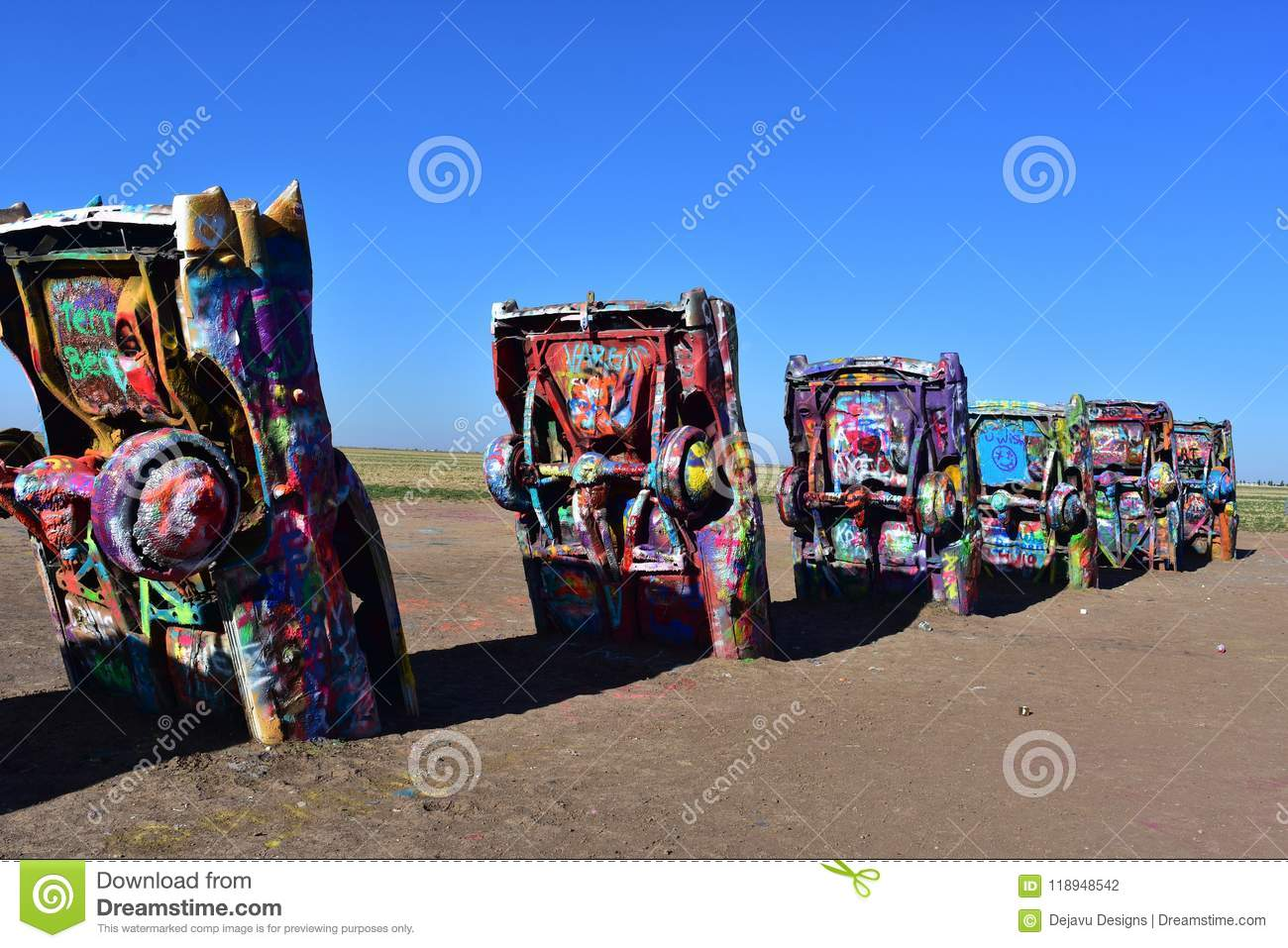 Iconic Cadillac Ranch In Amarillo Texas On Route 66 Editorial