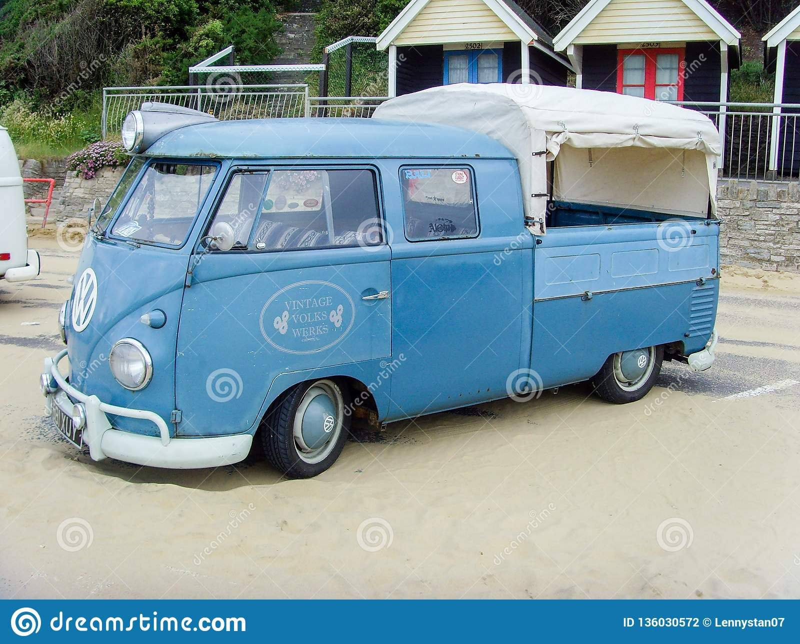 Iconic Blue Campervan Renovated And Converted Into Pickup Editorial Photography Image Of England Motor 136030572