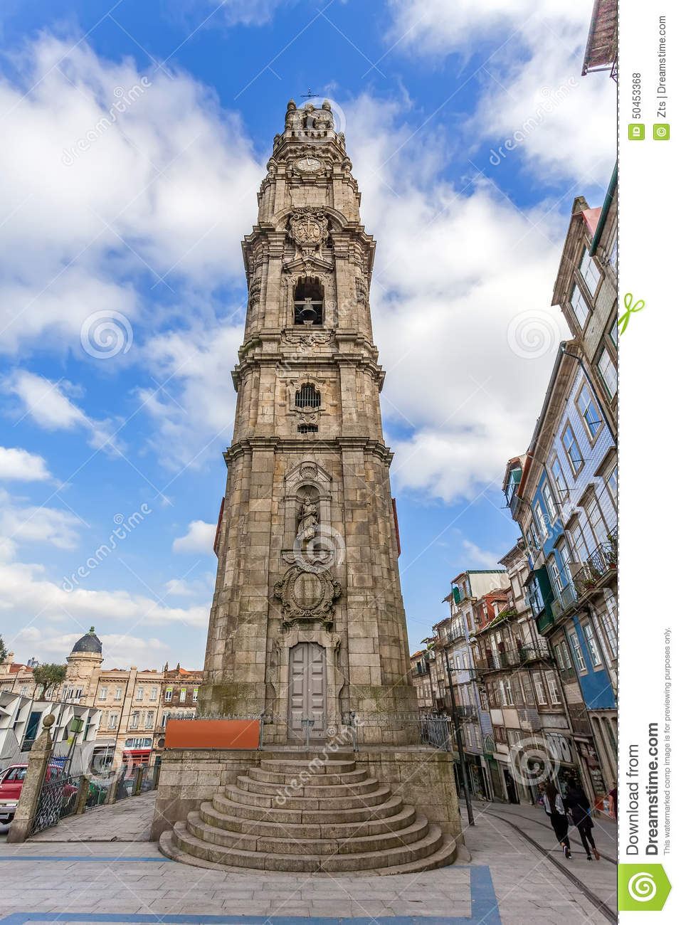 The iconic Clerigos Tower of the city of Porto, Portugal