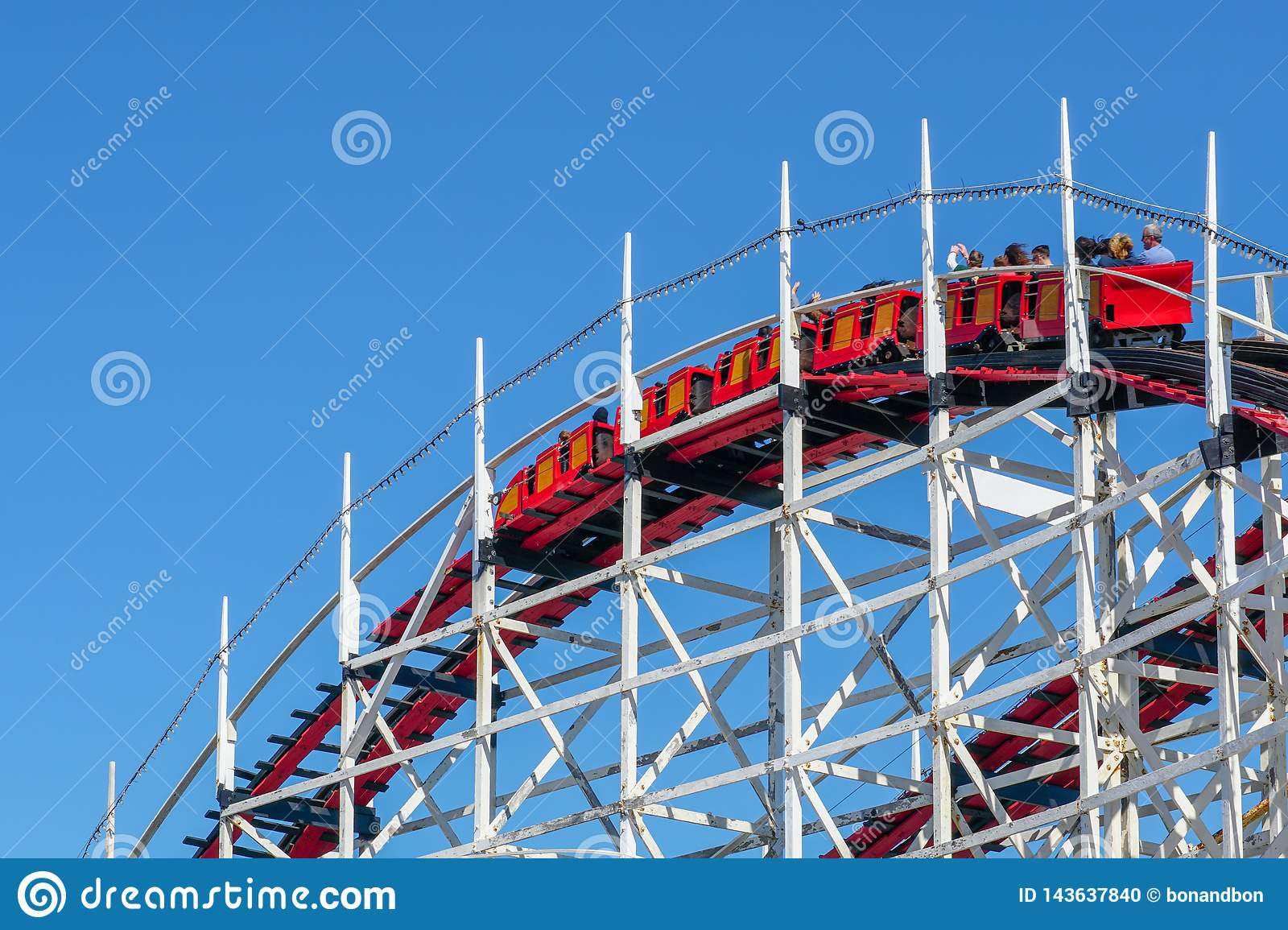 Iconic Giant Dipper Roller Coaster In Belmont Park San