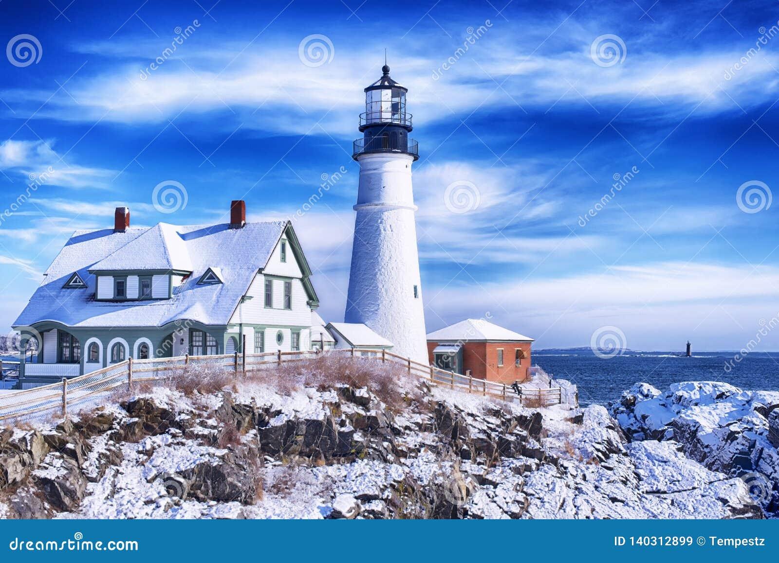 Portland Maine Headlight Winter Scene