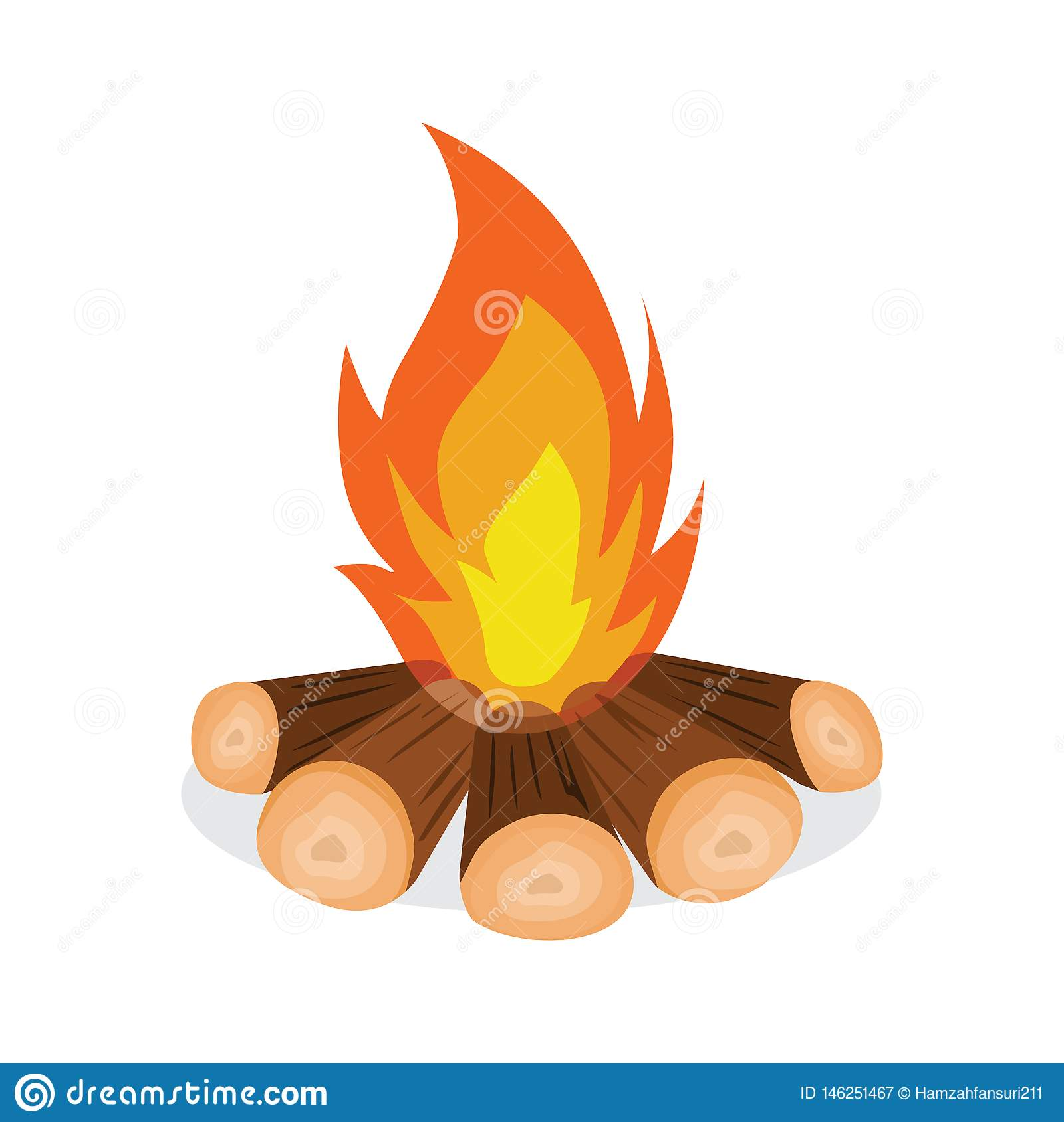 Firewood And Fire Icon Vector Illustration
