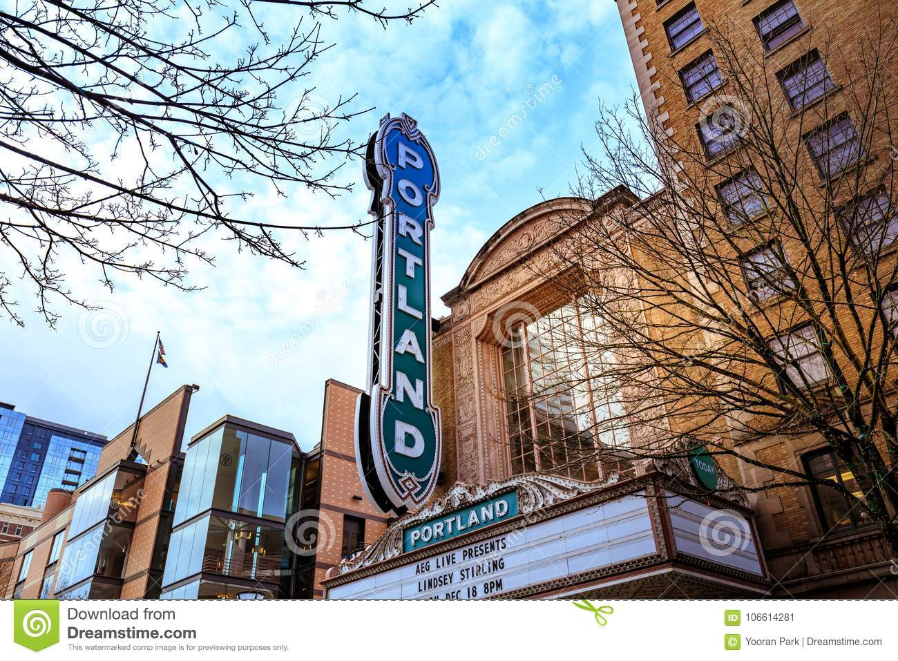 The Iconic Portland Sign Of Arlene Schnitzer Concert Hall In Dow - Portland schnitzer concert hall