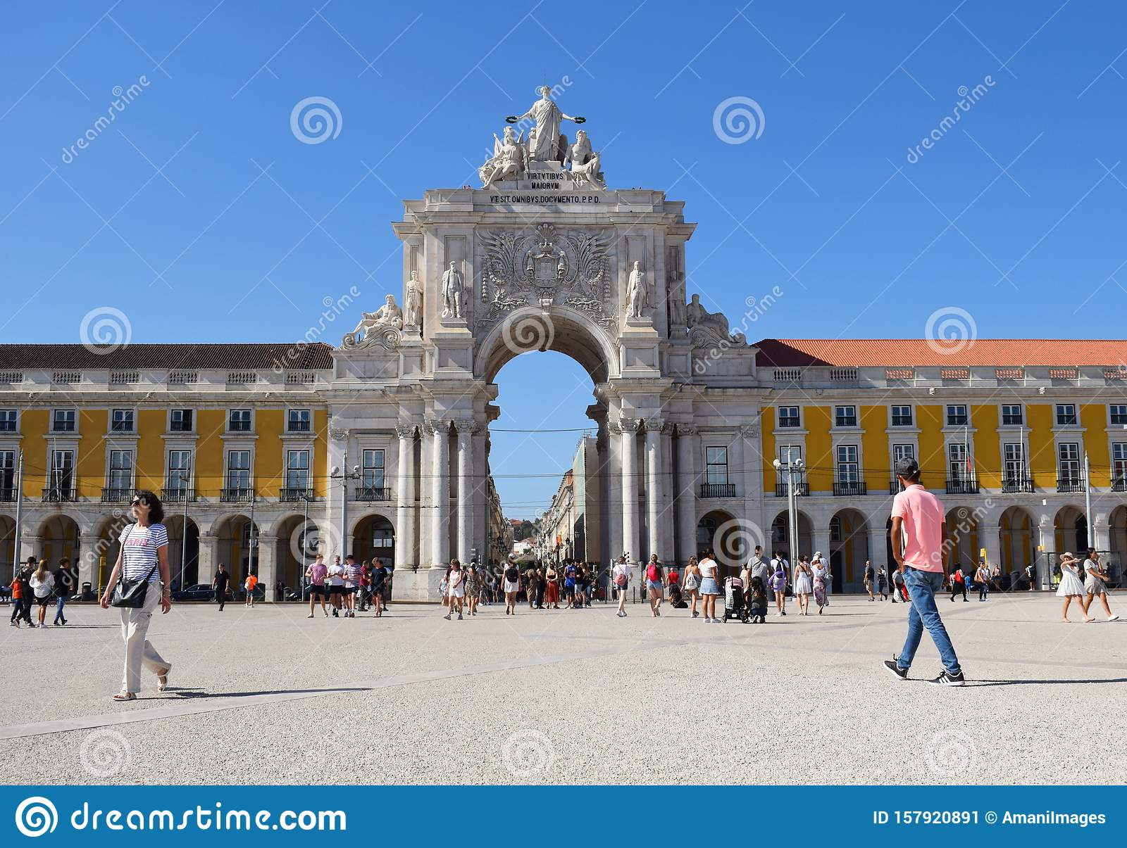Rua August Arch taken from Commercial Square Lisbon Portugal