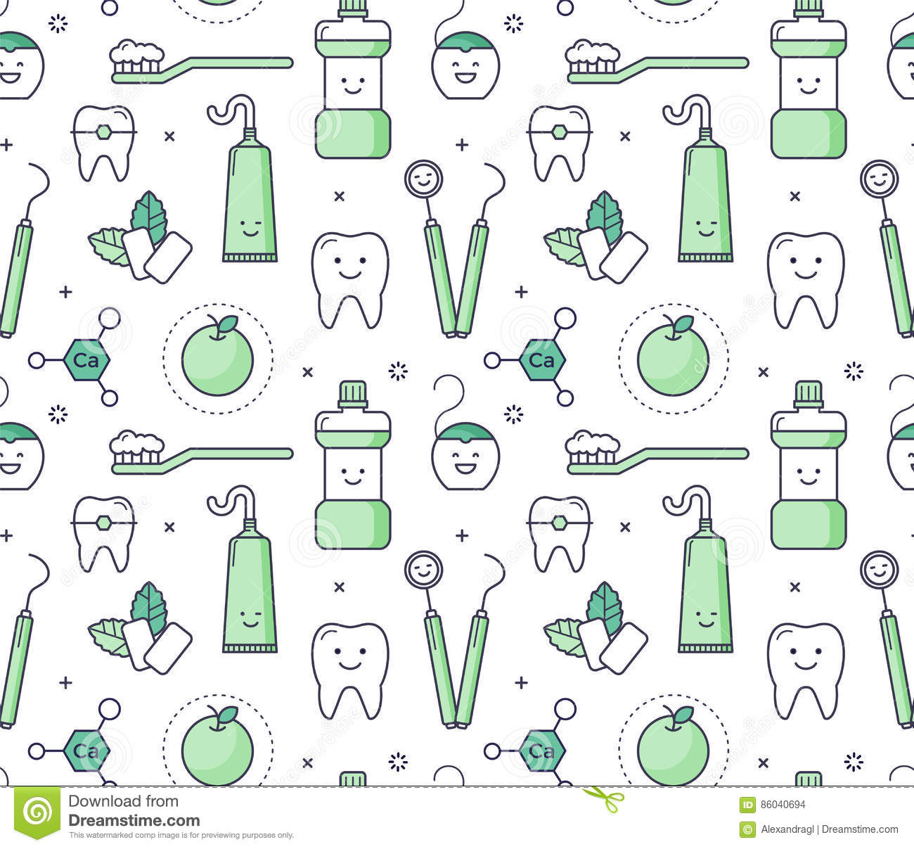 Iconic Seamless Pattern About Dentistry For Kids Stock