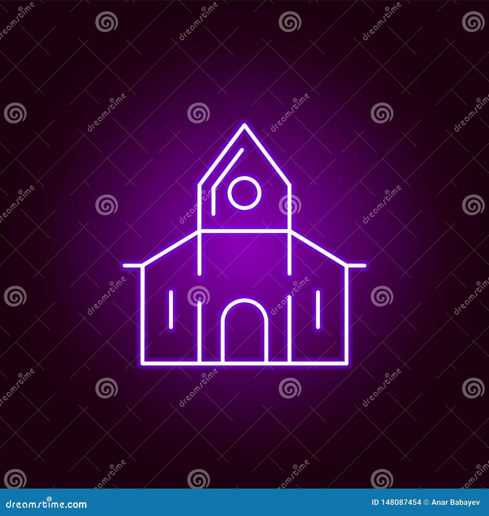 Icono abandonado de la casa en el estilo de neón Elemento del ejemplo de Halloween Muestras e icono para los sitios web, dise?o w