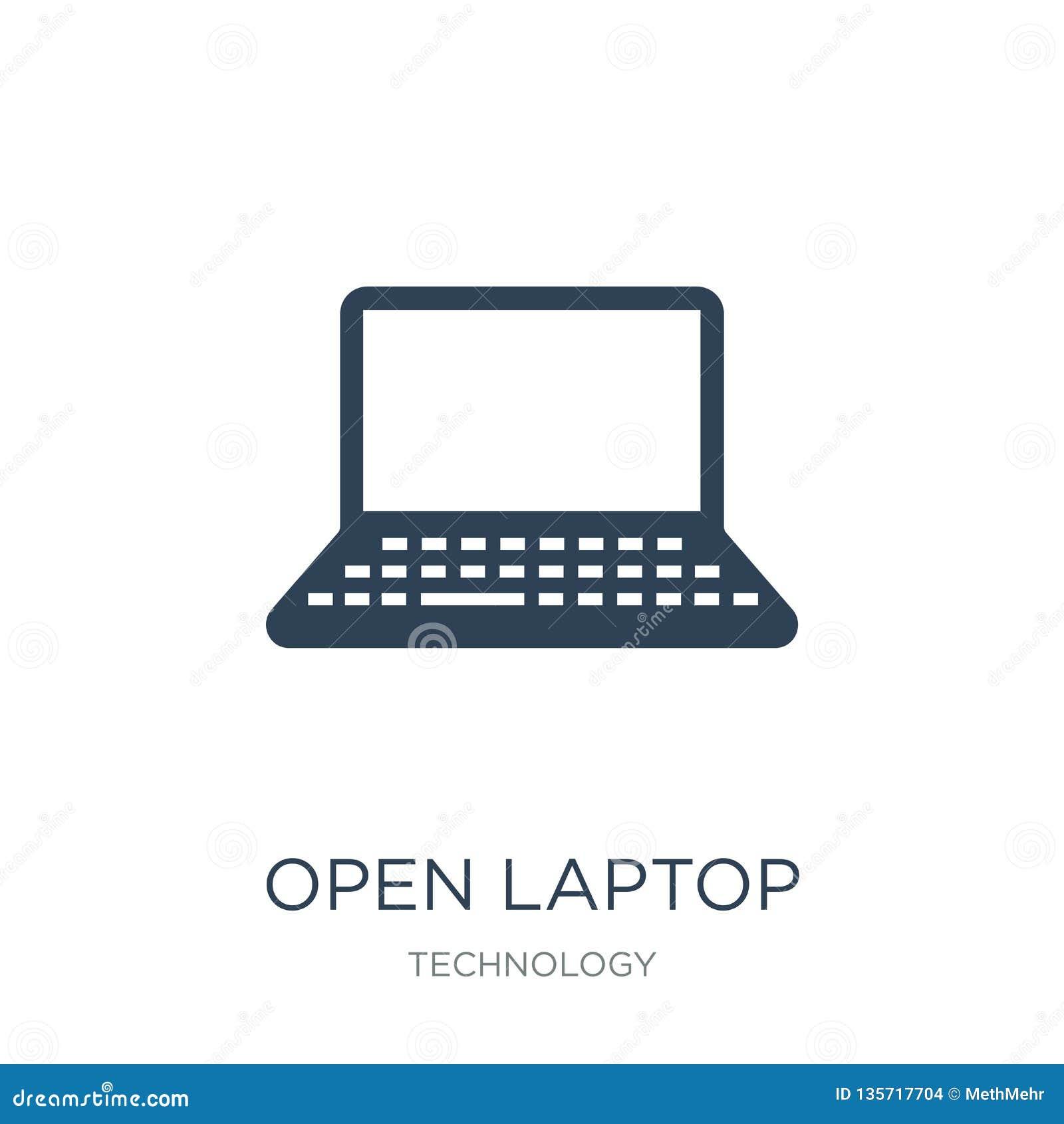 Icono abierto del ordenador portátil en estilo de moda del diseño icono abierto del ordenador portátil aislado en el fondo blanco