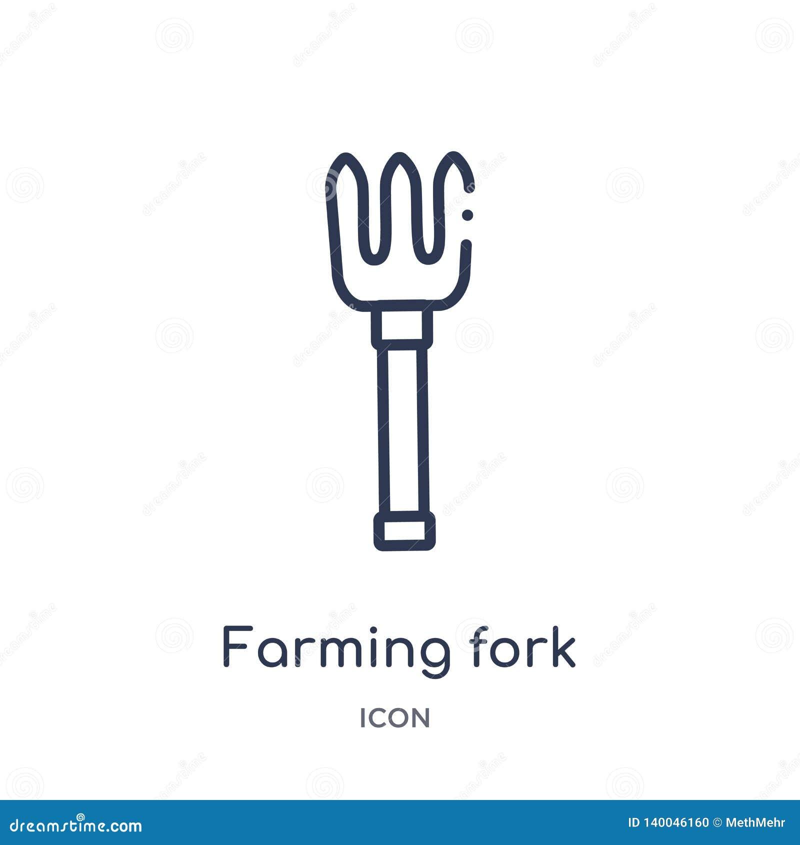 Icono agrícola linear de la bifurcación de la colección agrícola y que cultiva un huerto de la agricultura del esquema Línea fina