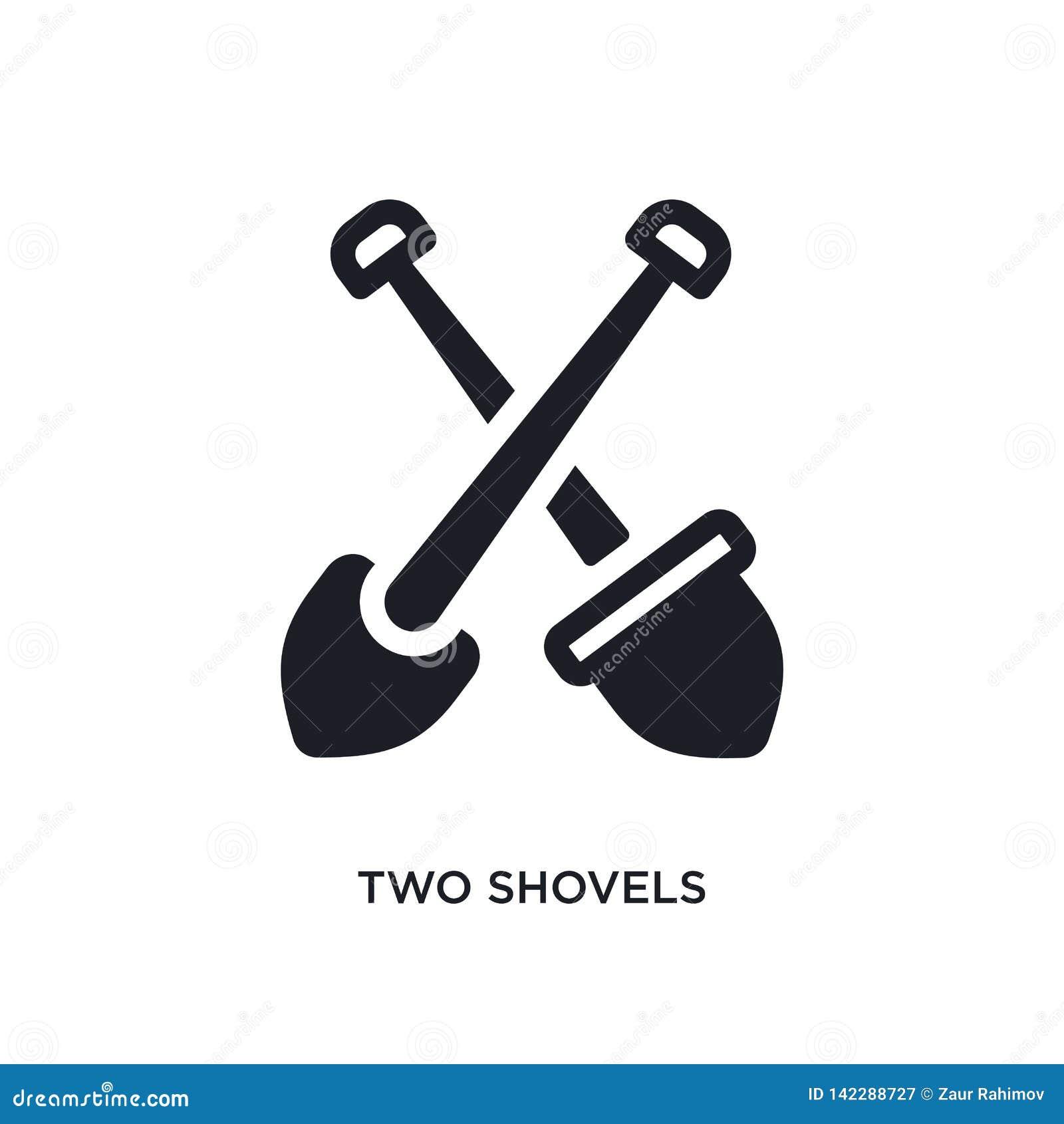 Icono aislado dos palas ejemplo simple del elemento de iconos del concepto de la construcción símbolo editable de la muestra del