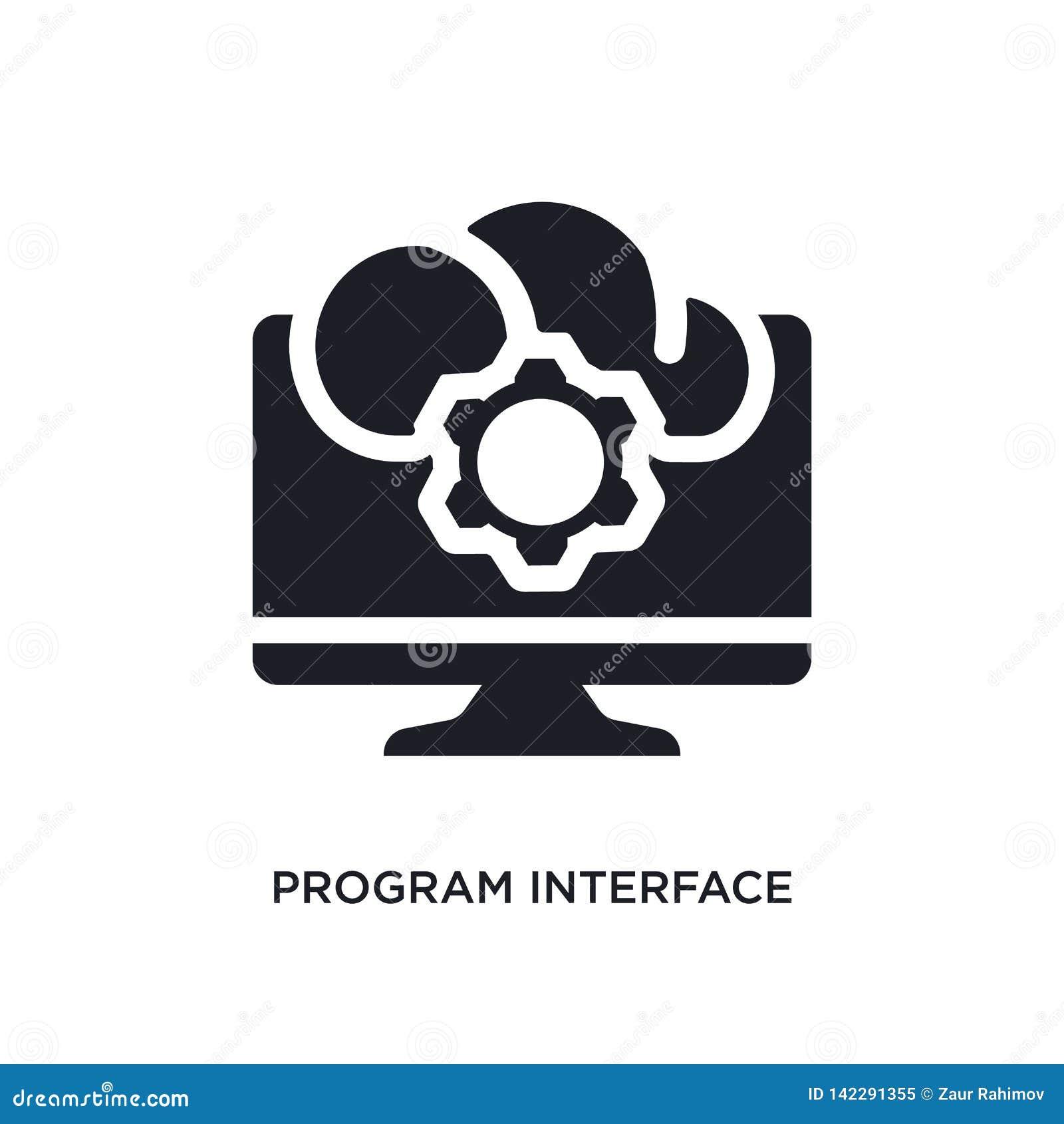 Icono aislado interfaz del programa ejemplo simple del elemento de iconos del concepto de programación muestra editable del logot