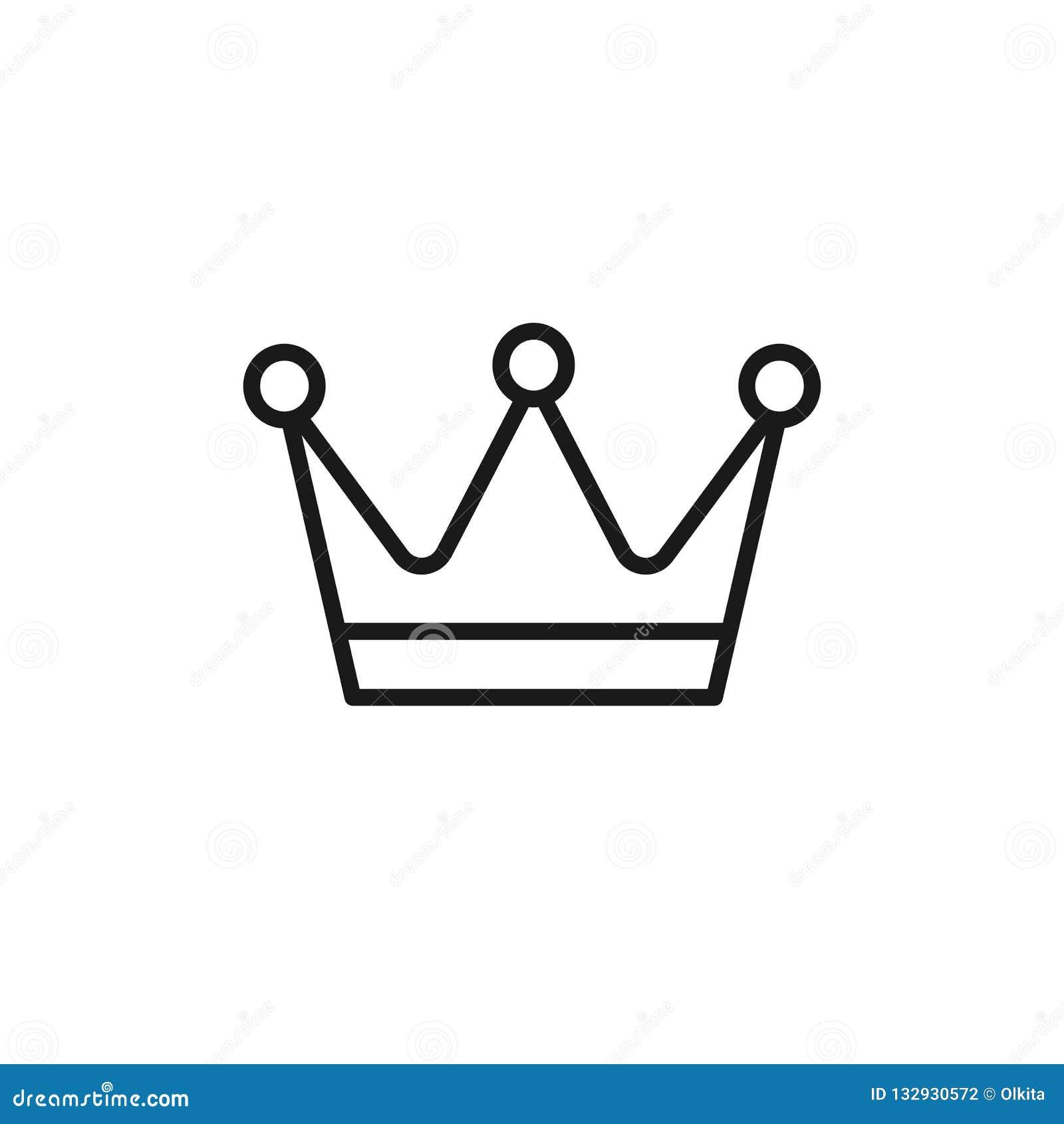 Icono aislado negro del esquema de la corona en el fondo blanco Línea icono de corona Símbolo de la autoridad y del poder