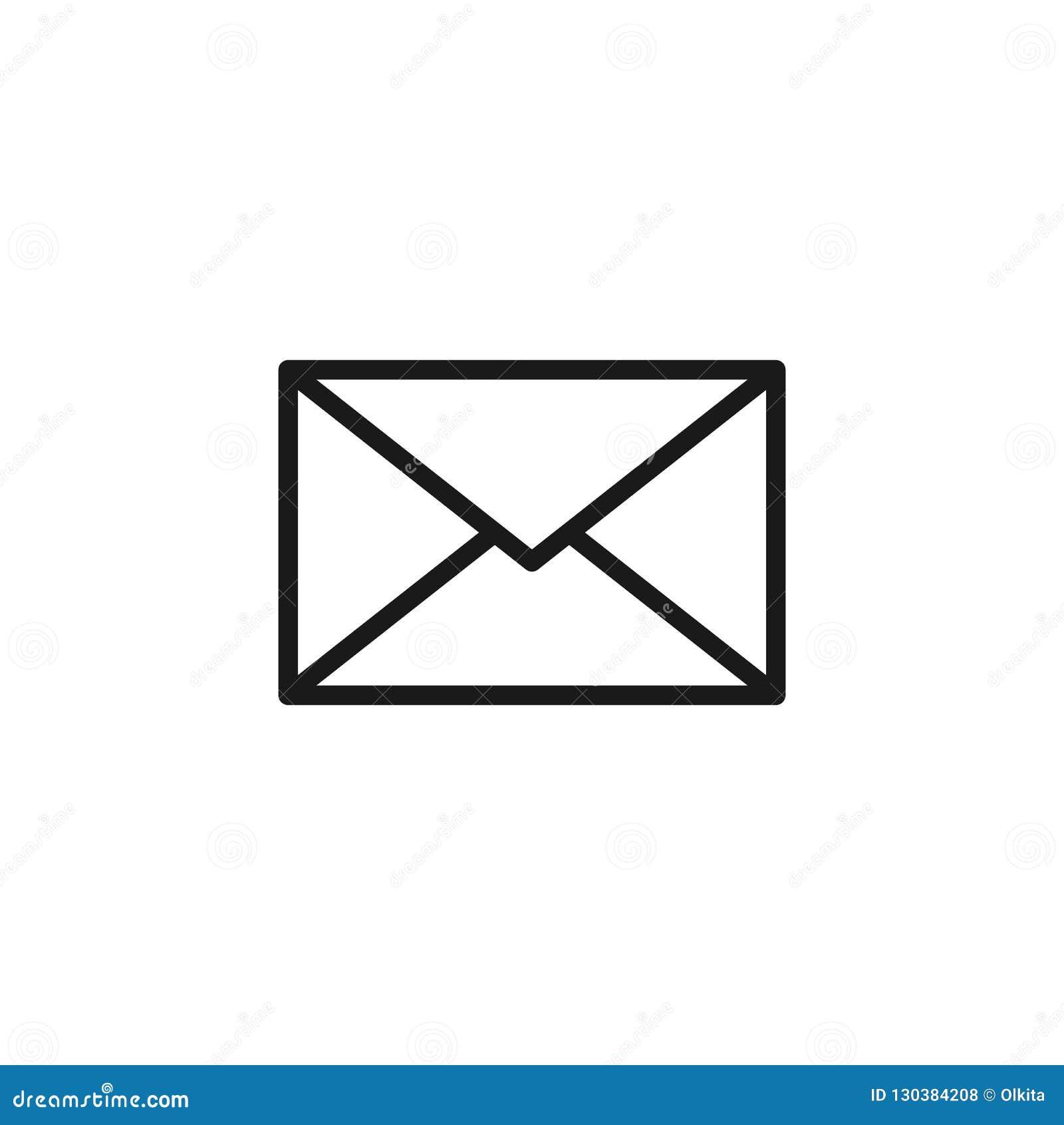 Icono aislado negro del esquema del sobre postal en el fondo blanco Línea icono de sobre Correo electrónico, correo