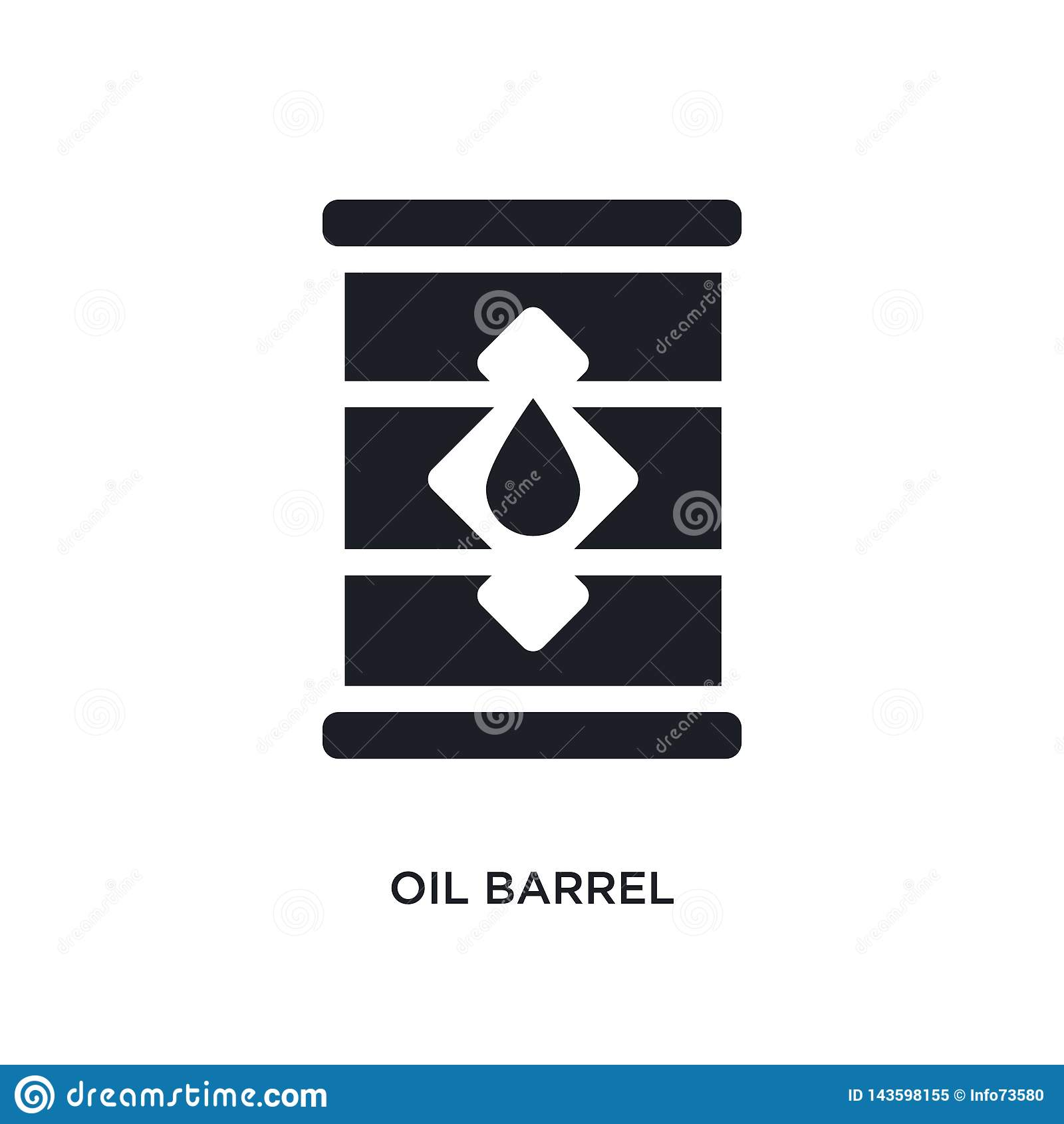 Icono aislado negro del vector del barril de aceite ejemplo simple del elemento de iconos del vector del concepto de la industria