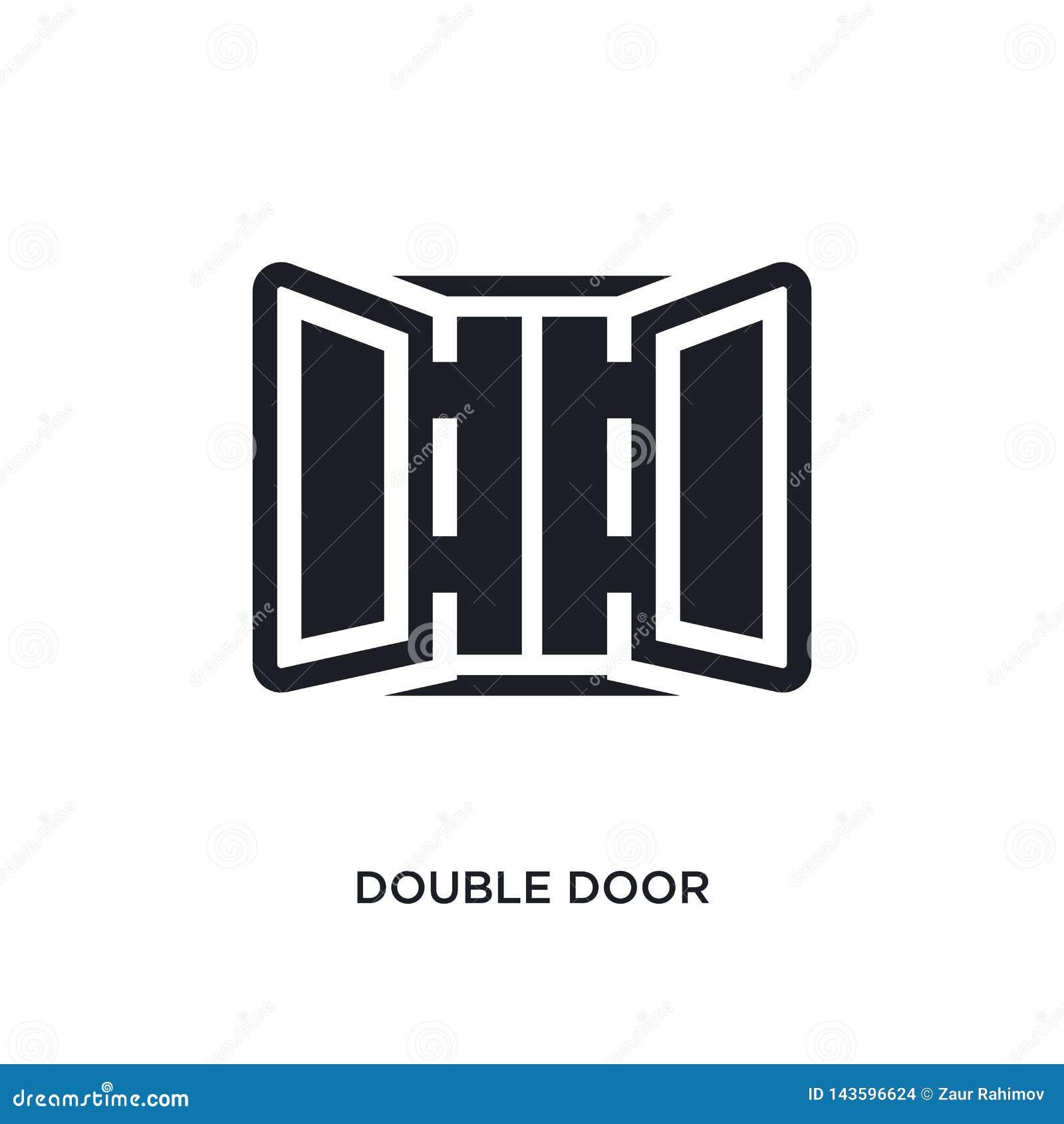 Icono aislado negro del vector de la puerta doble ejemplo simple del elemento de iconos del vector del concepto de los muebles y