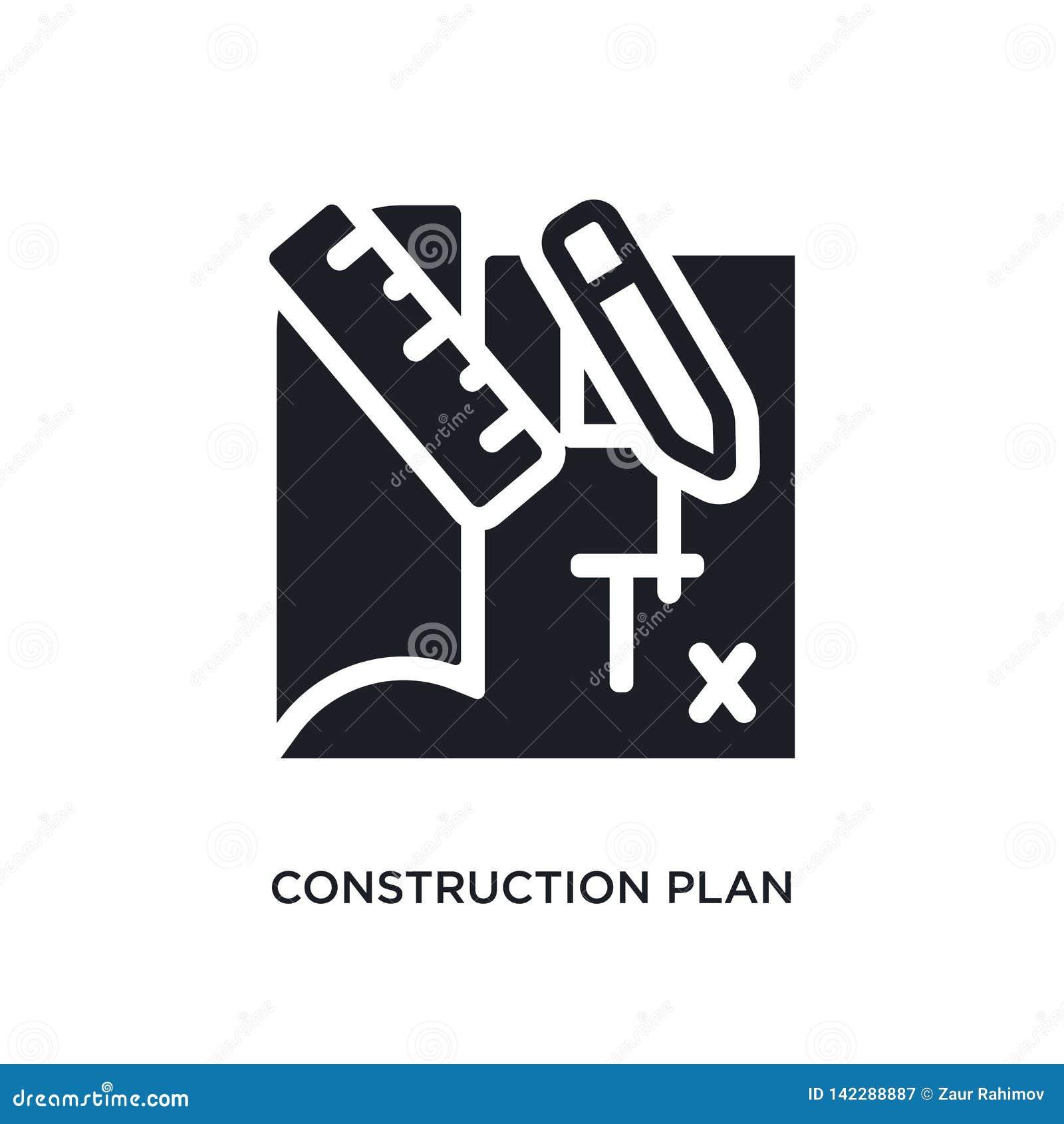 Icono aislado plan de la construcción ejemplo simple del elemento de iconos del concepto de la construcción muestra editable del