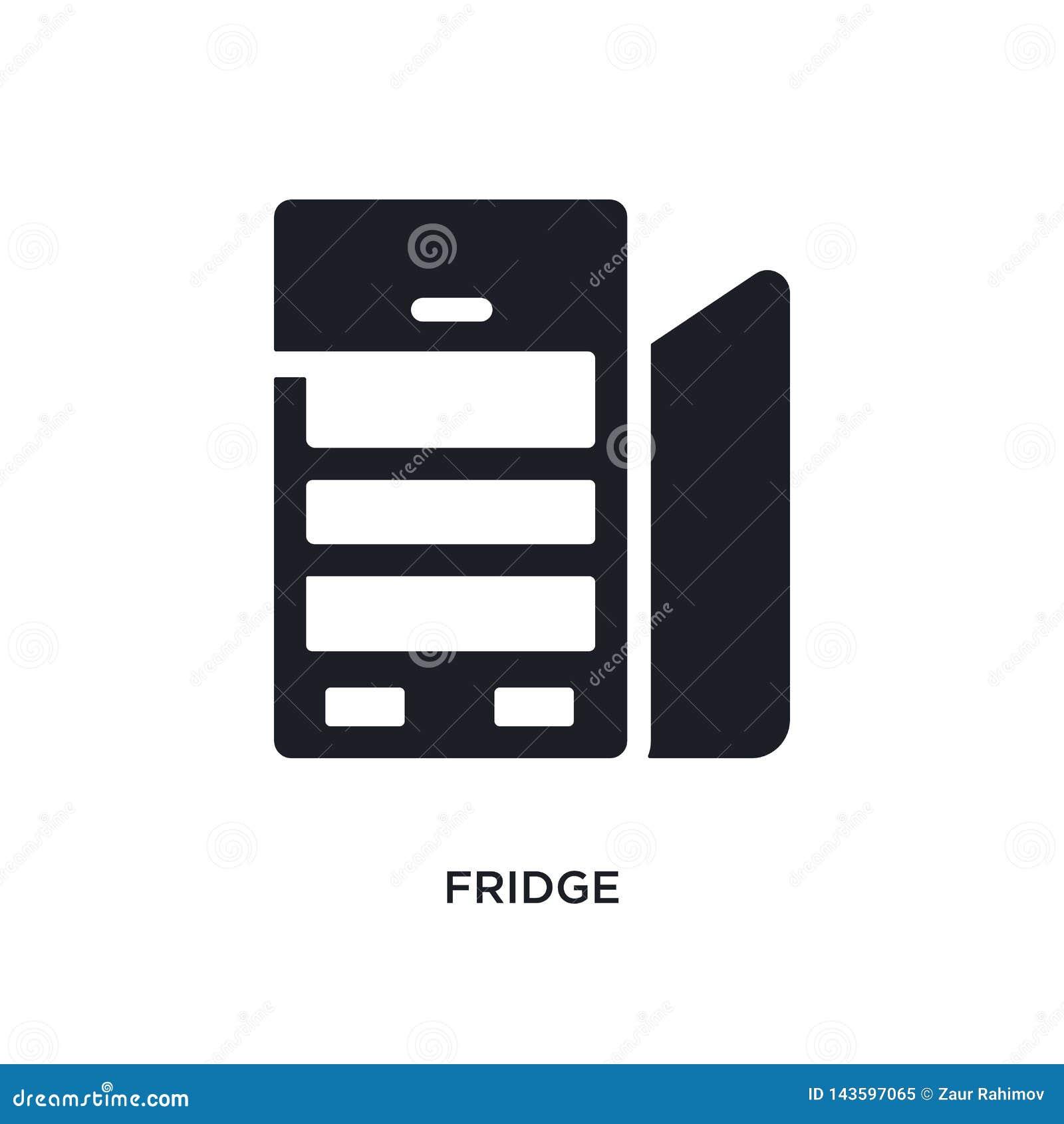Icono aislado refrigerador negro del vector ejemplo simple del elemento de iconos del vector del concepto de los muebles logotipo