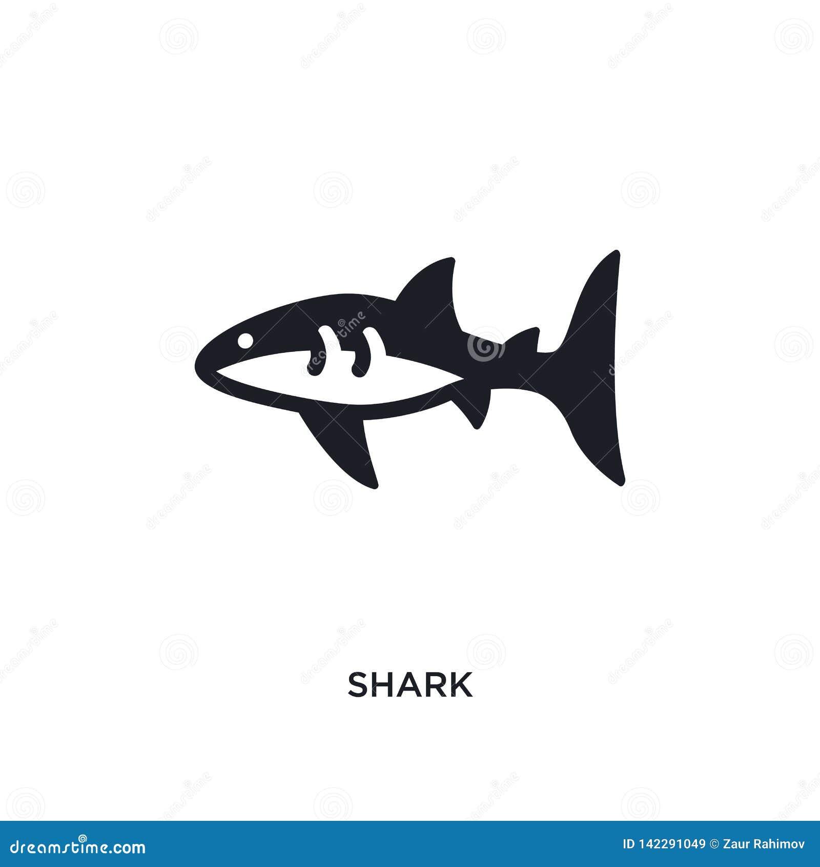 Icono aislado tiburón ejemplo simple del elemento de iconos náuticos del concepto diseño editable del símbolo de la muestra del l