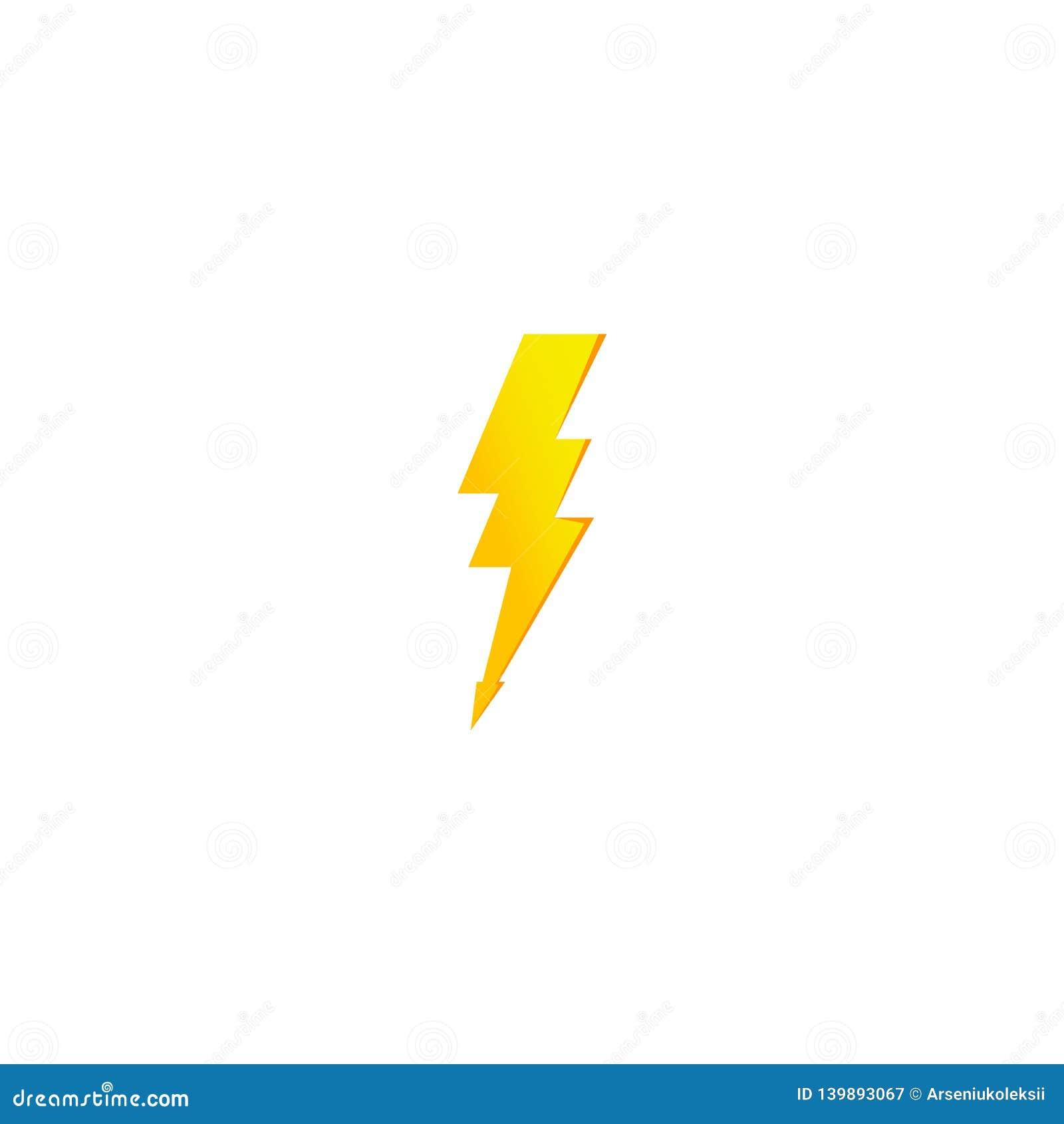 Icono amarillo simple del rayo Trueno, perno y muestra de alto voltaje