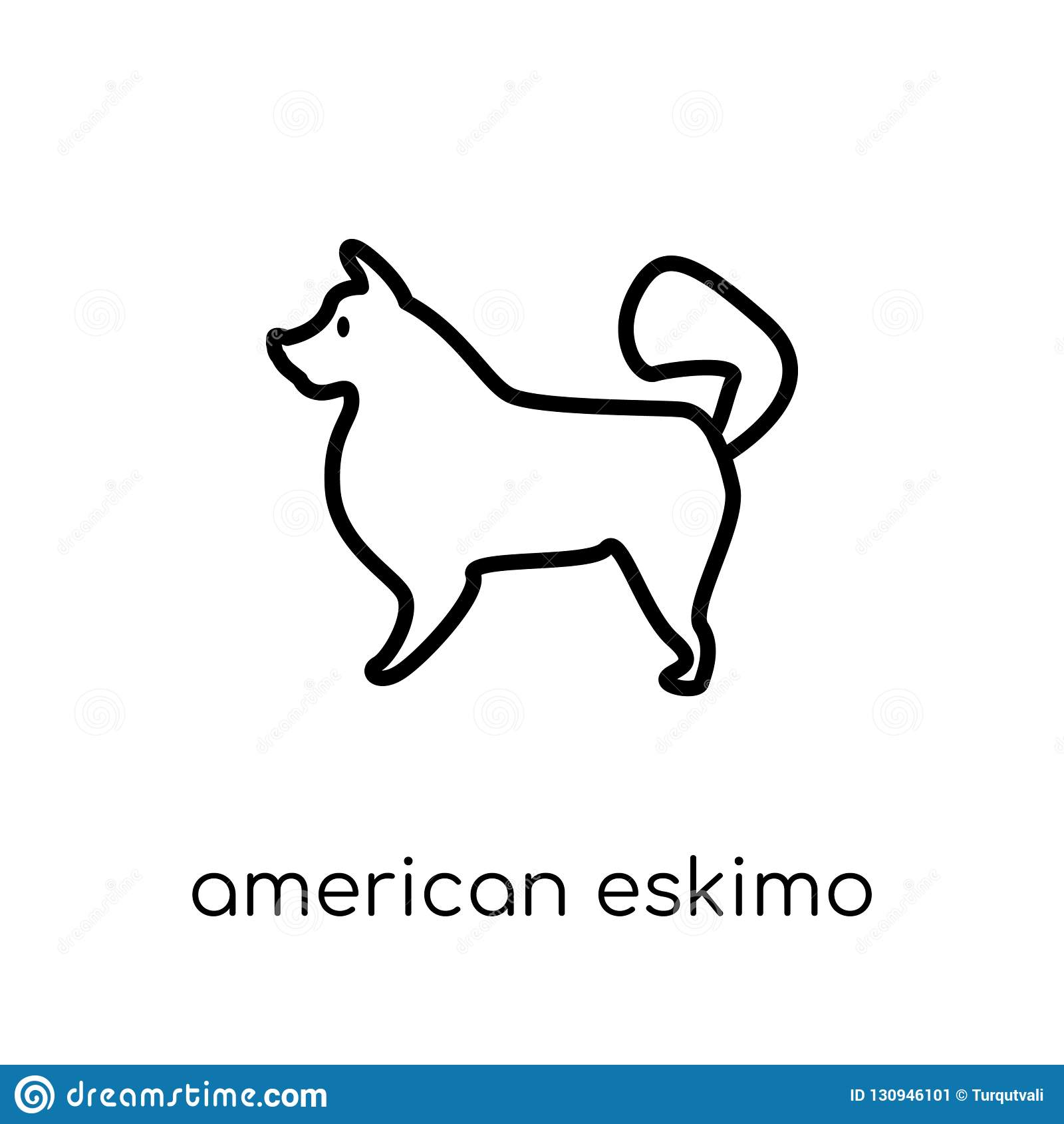 Icono americano del perro del perro esquimal Vector linear plano moderno de moda A