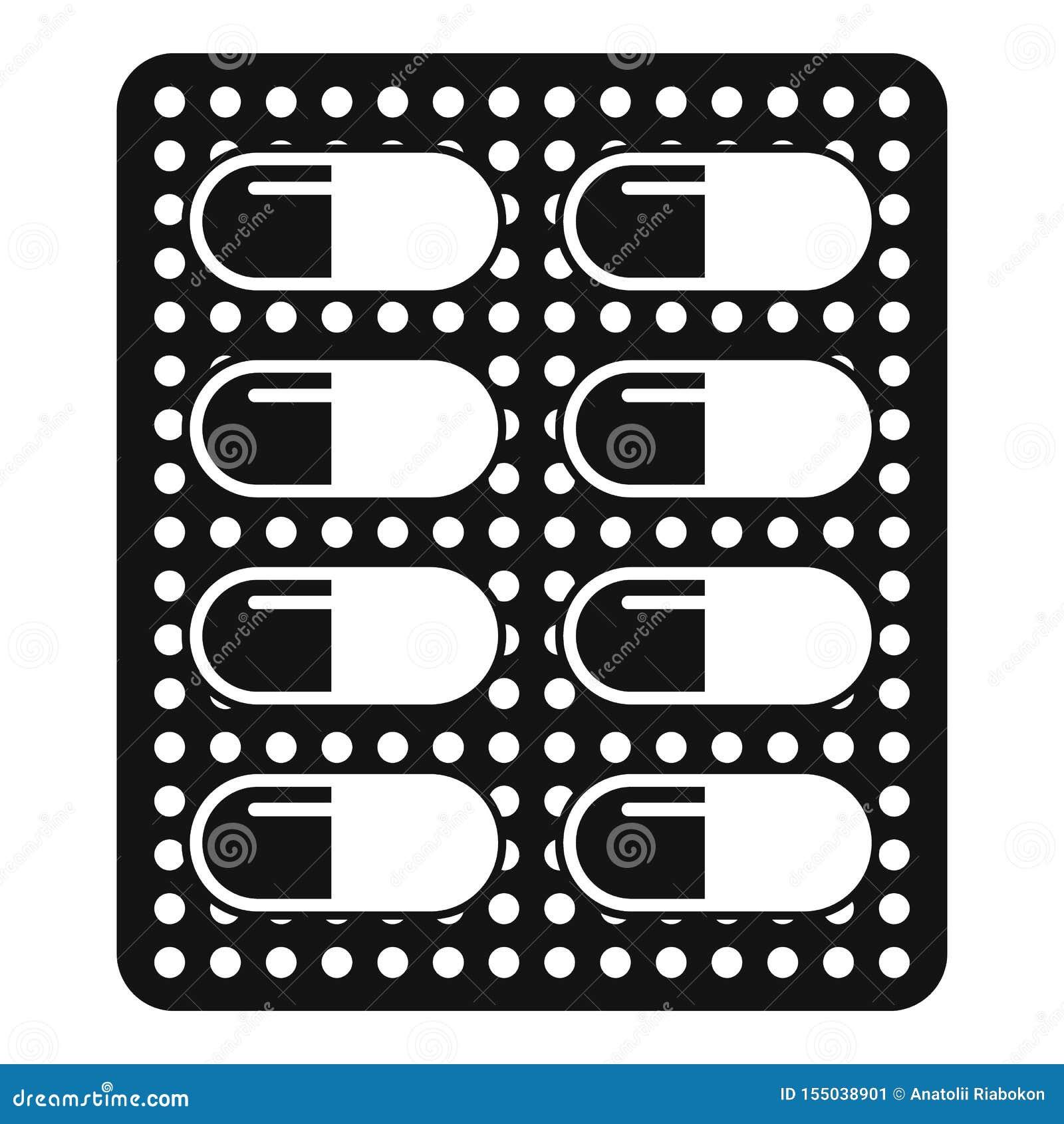 Icono antibiótico del paquete de la dosis, estilo simple