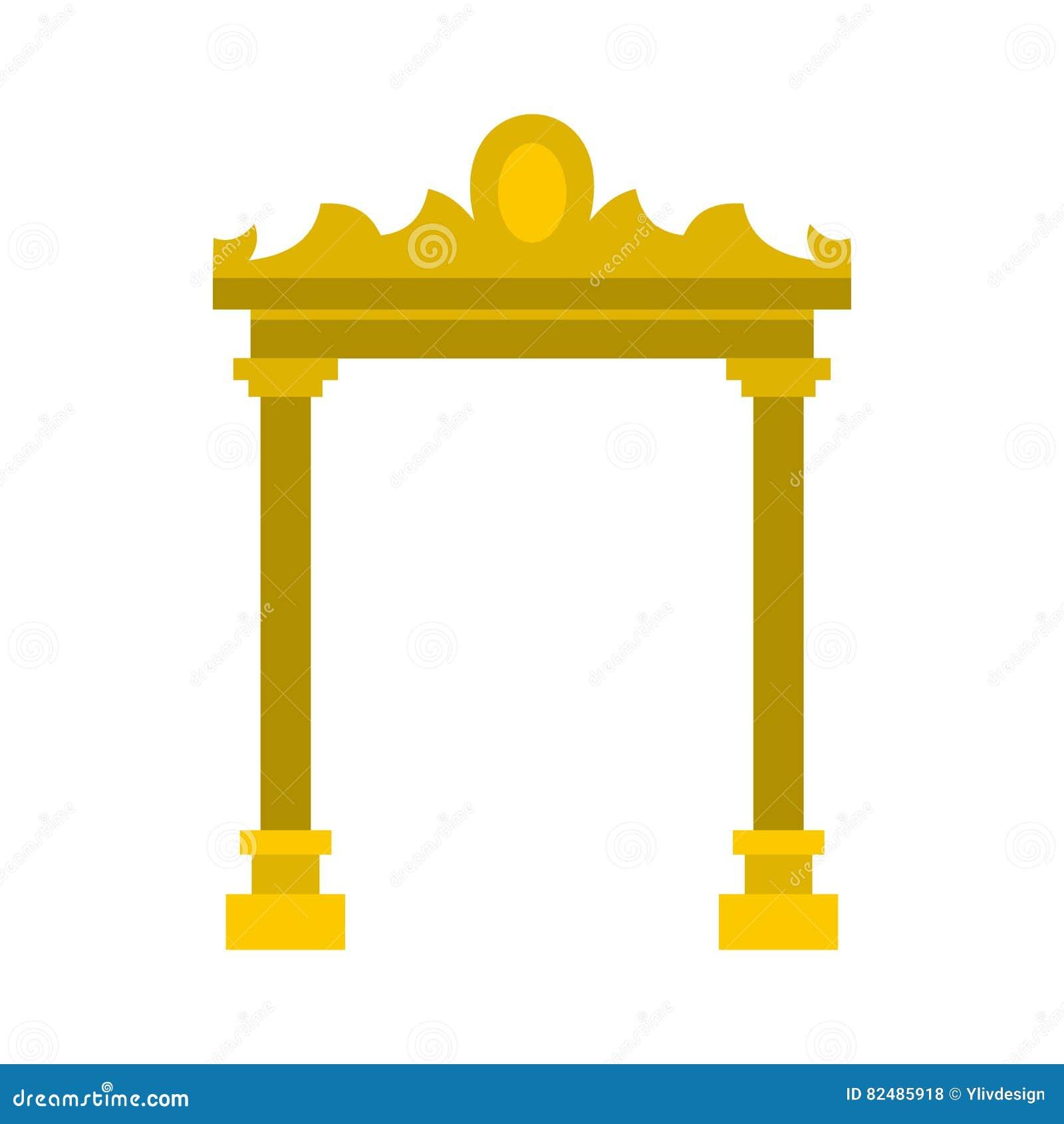 Icono antiguo de oro del arco, estilo plano