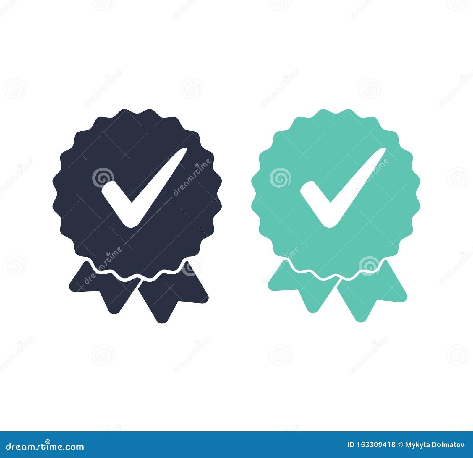 Icono aprobada o de la marca de verificaci?n Icono certificado calidad Ilustraci?n del vector Banderas de las cintas fijadas