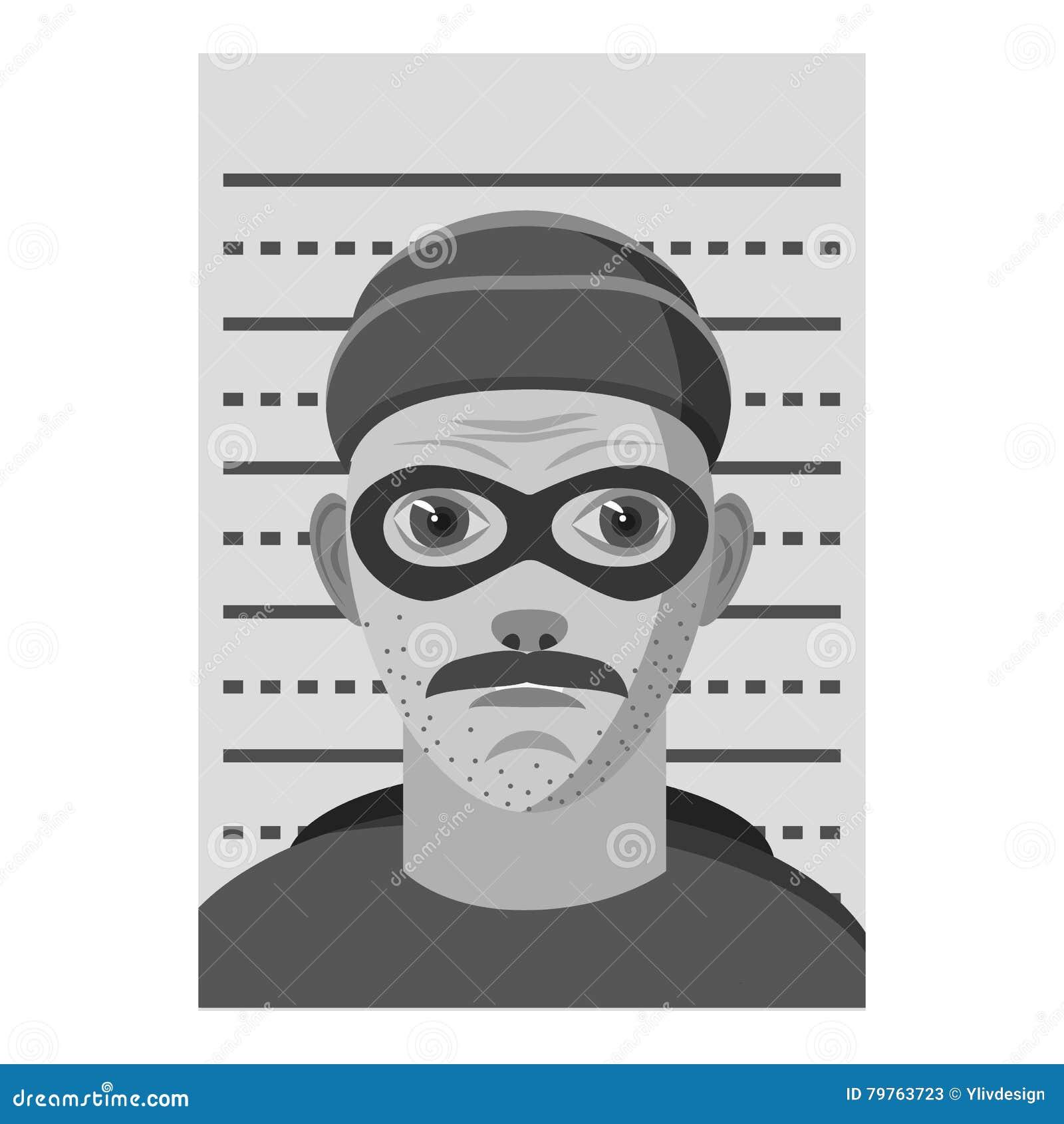 Icono arrestado hombre, estilo monocromático gris