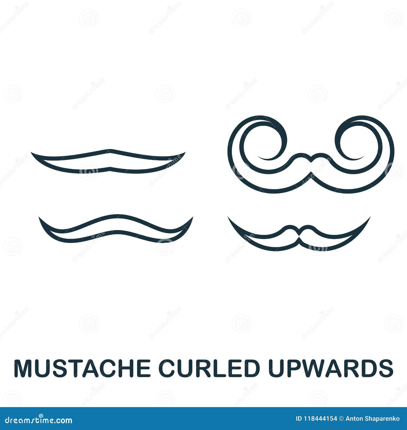 Icono ascendente encrespado bigote Diseño plano del icono del estilo Ui Ejemplo del icono ascendente encrespado bigote pictogram