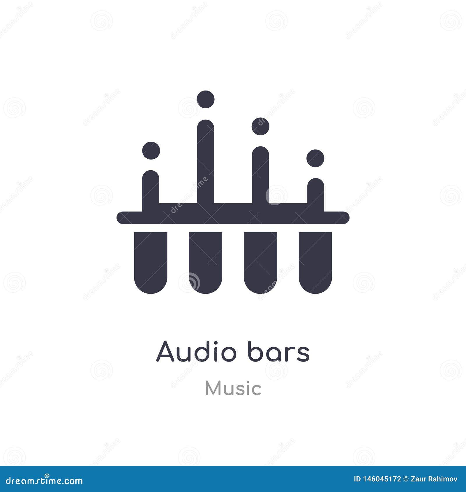 Icono audio del esquema de las barras l?nea aislada ejemplo del vector de la colecci?n de m?sica icono audio de las barras del mo