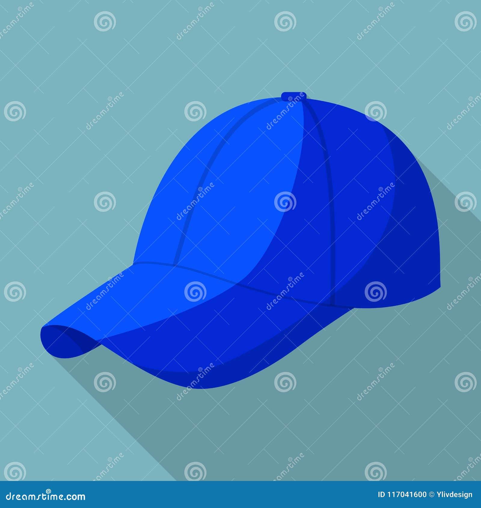 79684fac2c45 Icono Azul De La Gorra De Béisbol, Estilo Plano Ilustración del ...