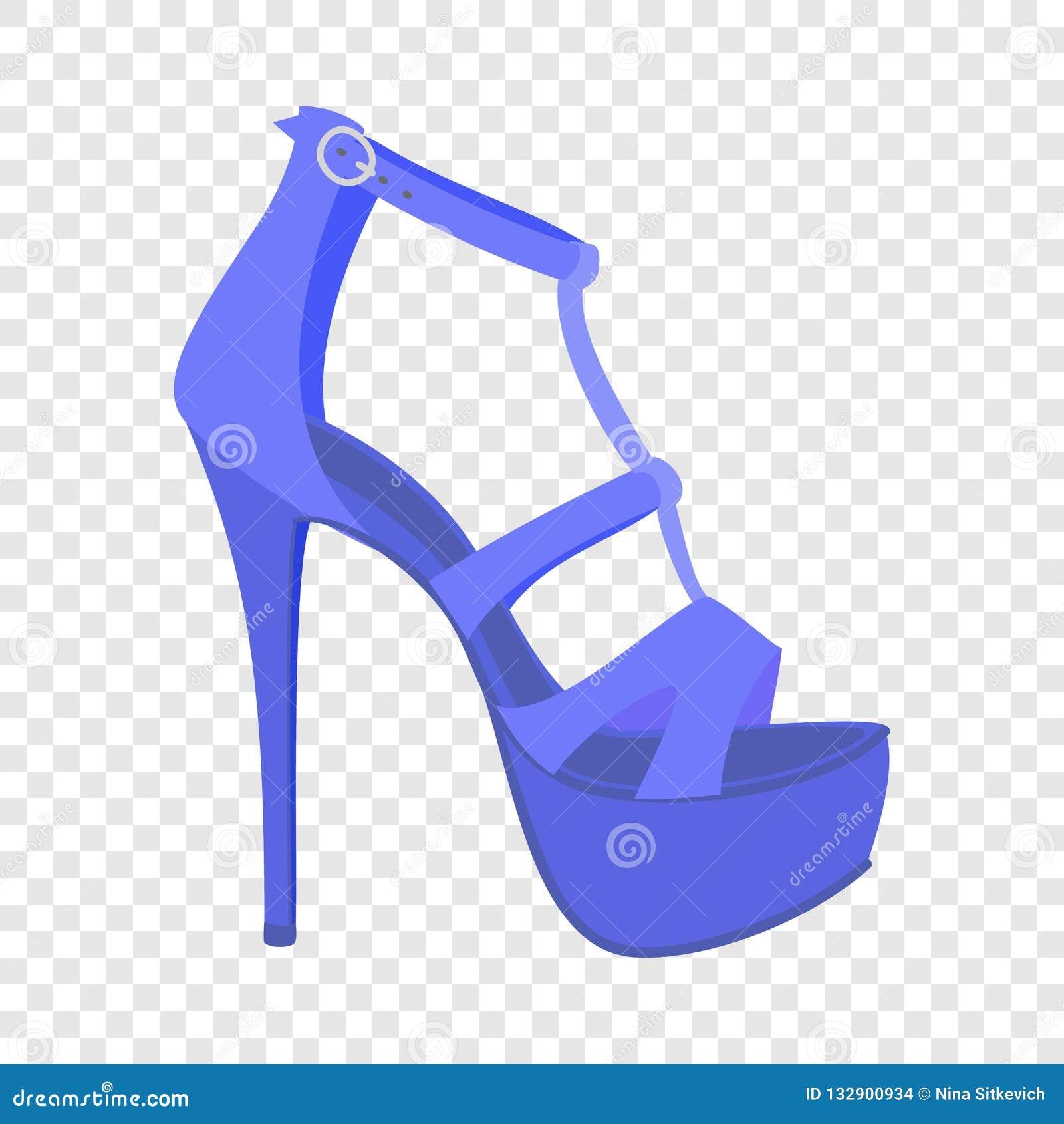 Icono azul de la sandalia de la mujer, estilo plano