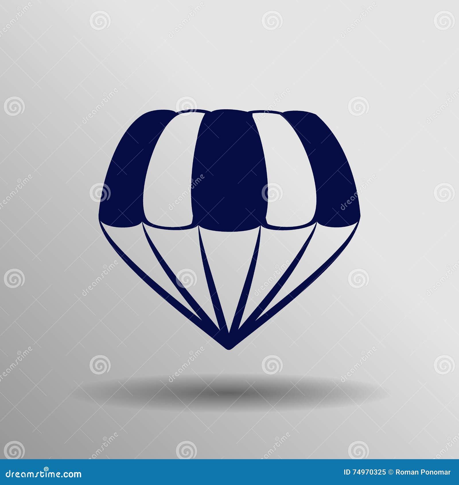 Icono Azul Del Paracaídas En El Fondo Gris Imagen de archivo ...