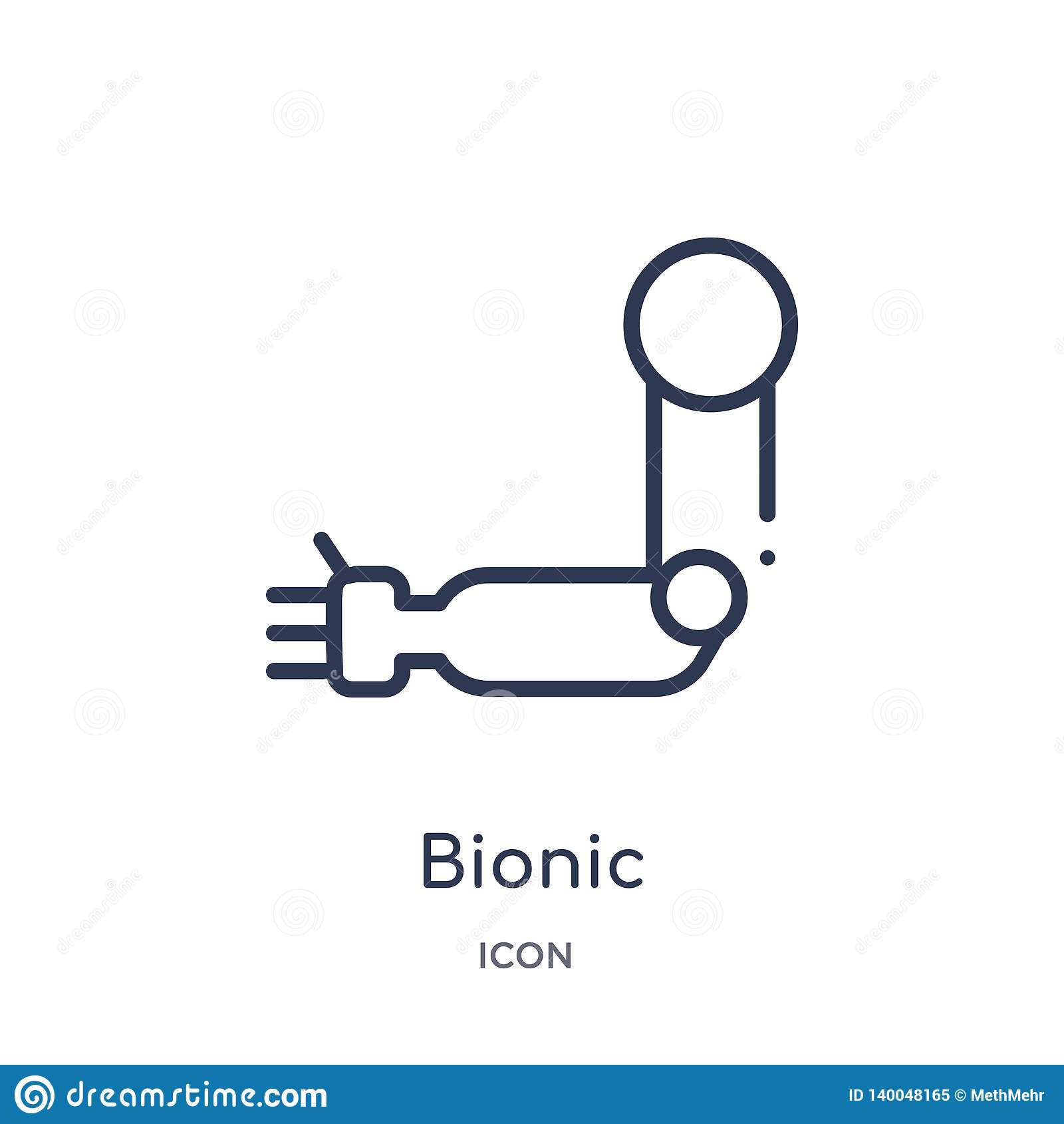 Icono biónico linear de la colección del esquema de la inteligencia artificial Línea fina vector biónico aislado en el fondo blan
