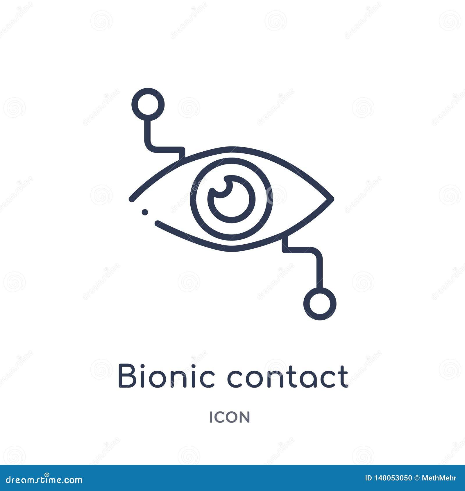 Icono biónico linear de la lente de contacto de la colección del esquema de Crowdfunding Línea fina vector biónico de la lente de