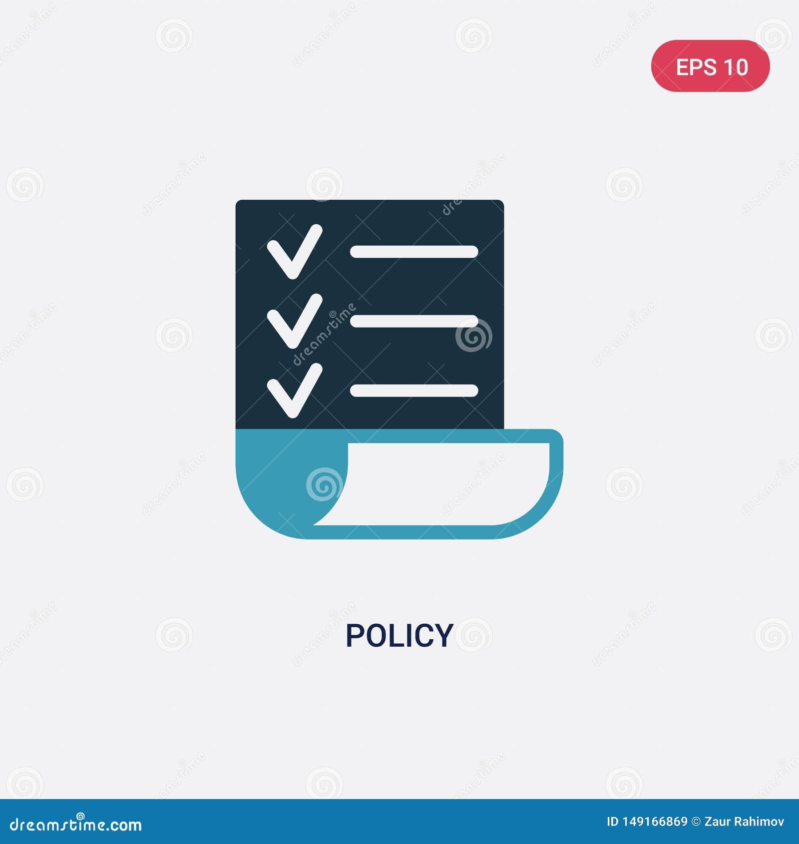 Icono bicolor del vector de la política del concepto de la estrategia el símbolo azul aislado de la muestra del vector de la polí