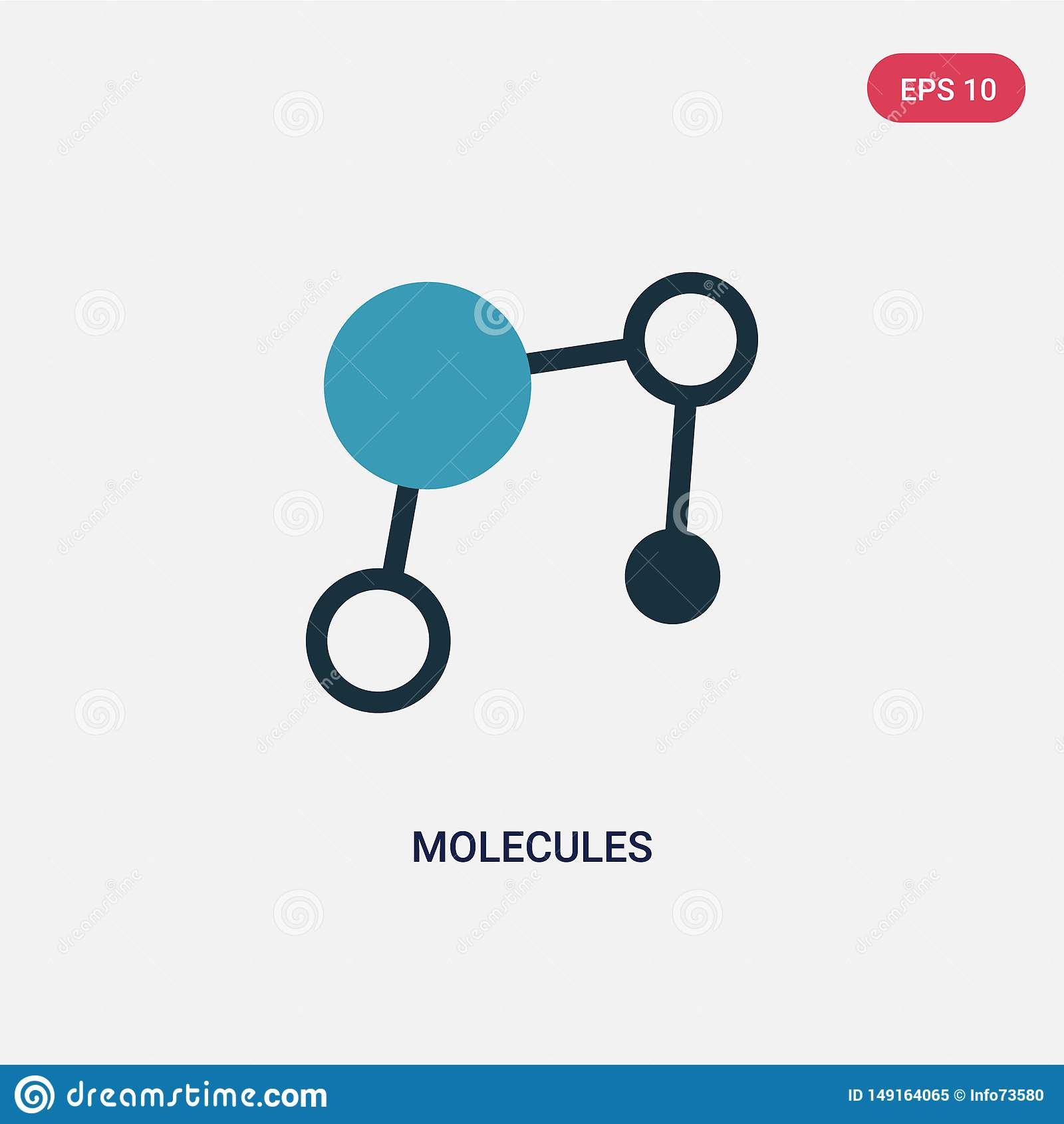 Icono bicolor del vector de las moléculas del concepto de la ciencia el símbolo azul aislado de la muestra del vector de las molé