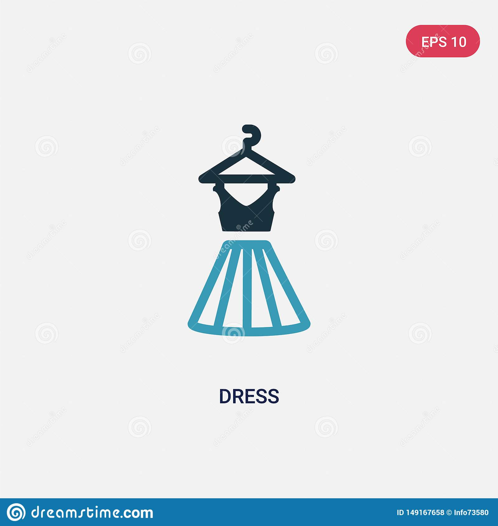 Icono bicolor del vector del vestido del concepto del verano el s?mbolo azul aislado de la muestra del vector del vestido puede s