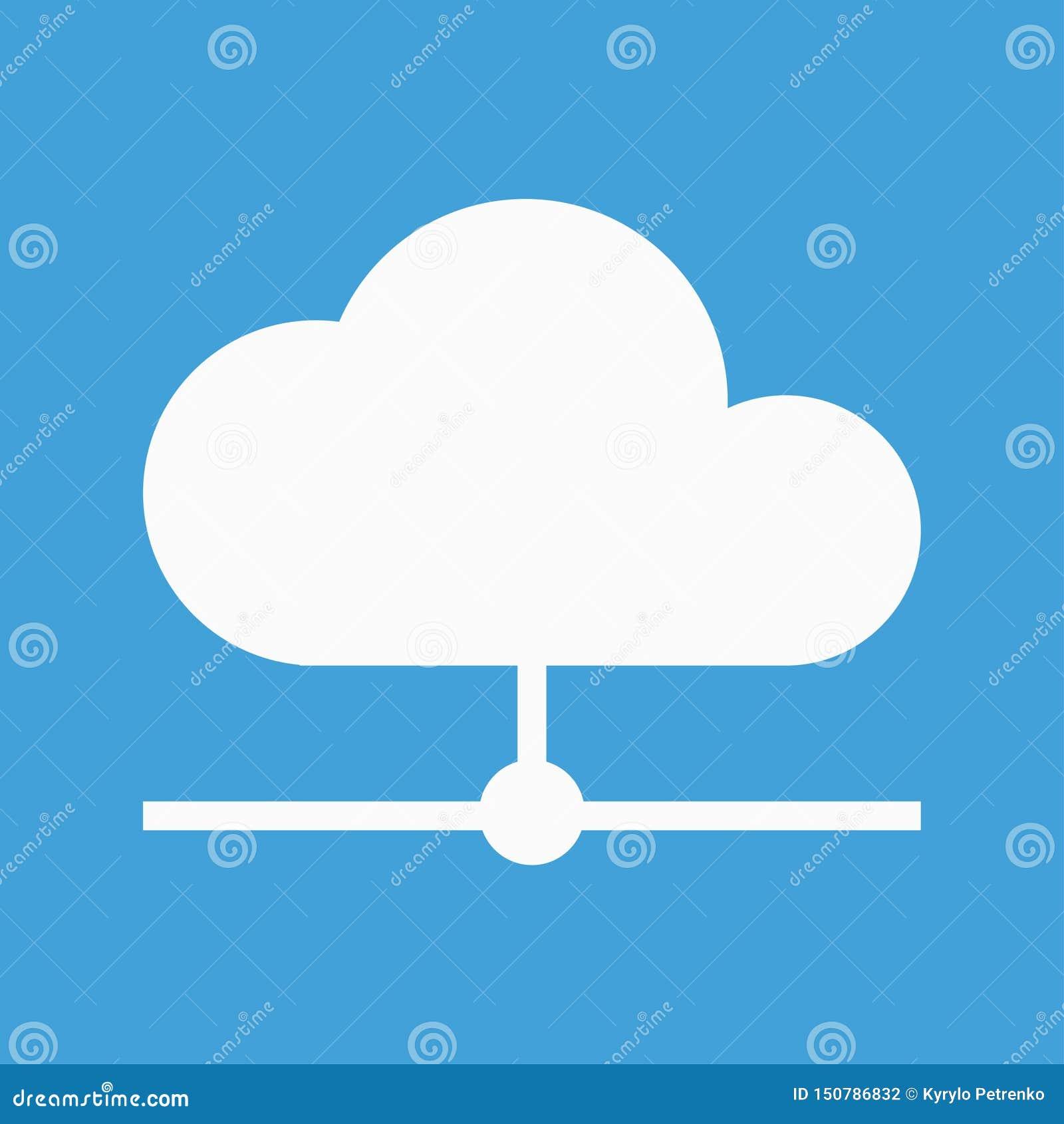 Icono blanco de la nube para el almacenamiento de copia de seguridad de Internet