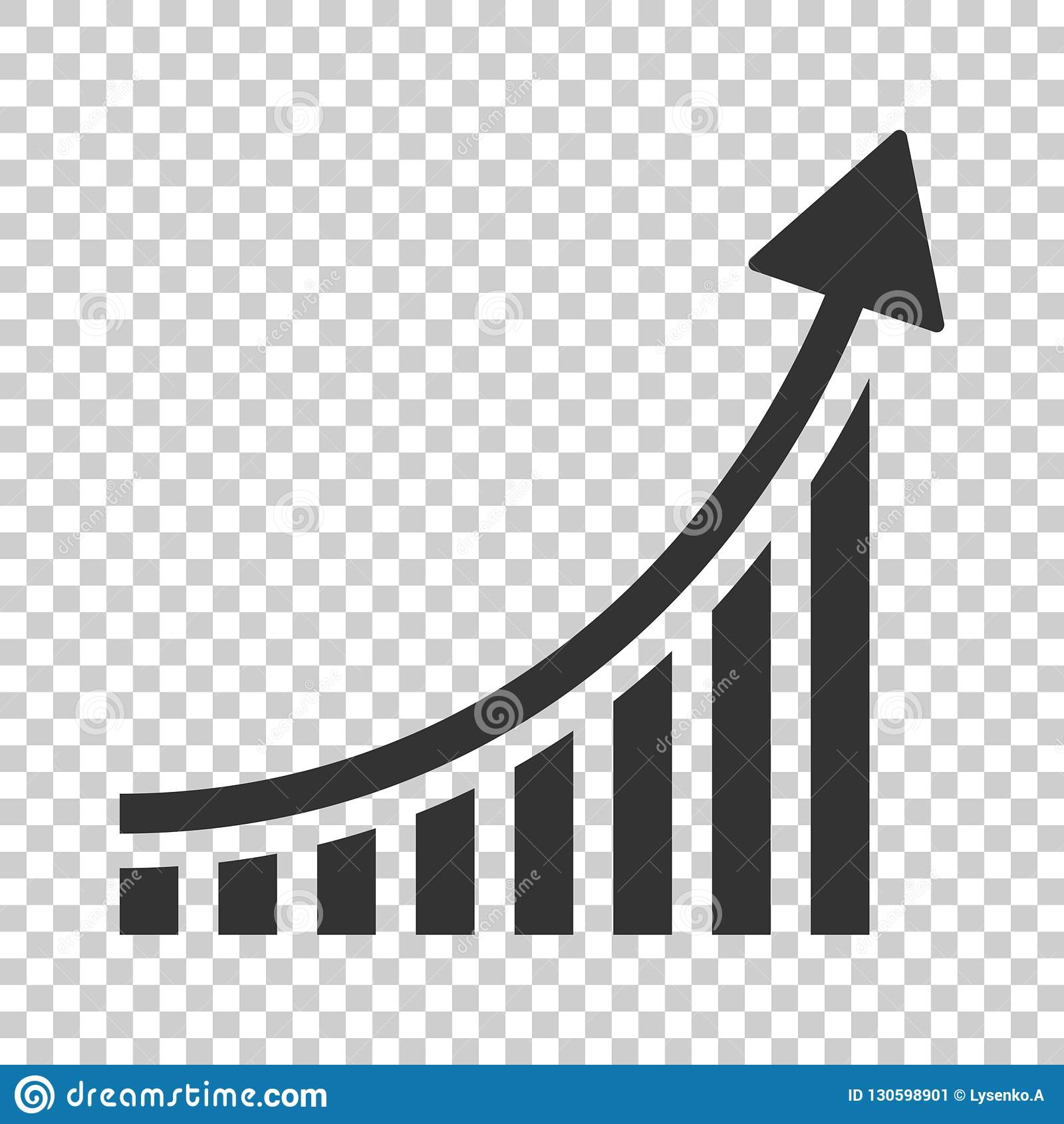 Icono cada vez mayor del gráfico de barra en estilo plano Aumente el illu del vector de la flecha