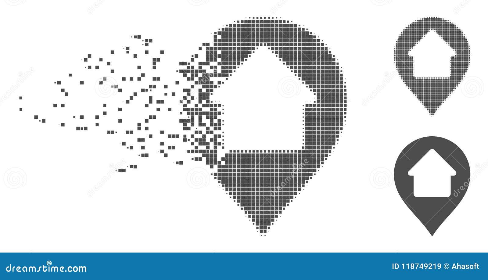 Icono casero de semitono dañado del marcador del pixel