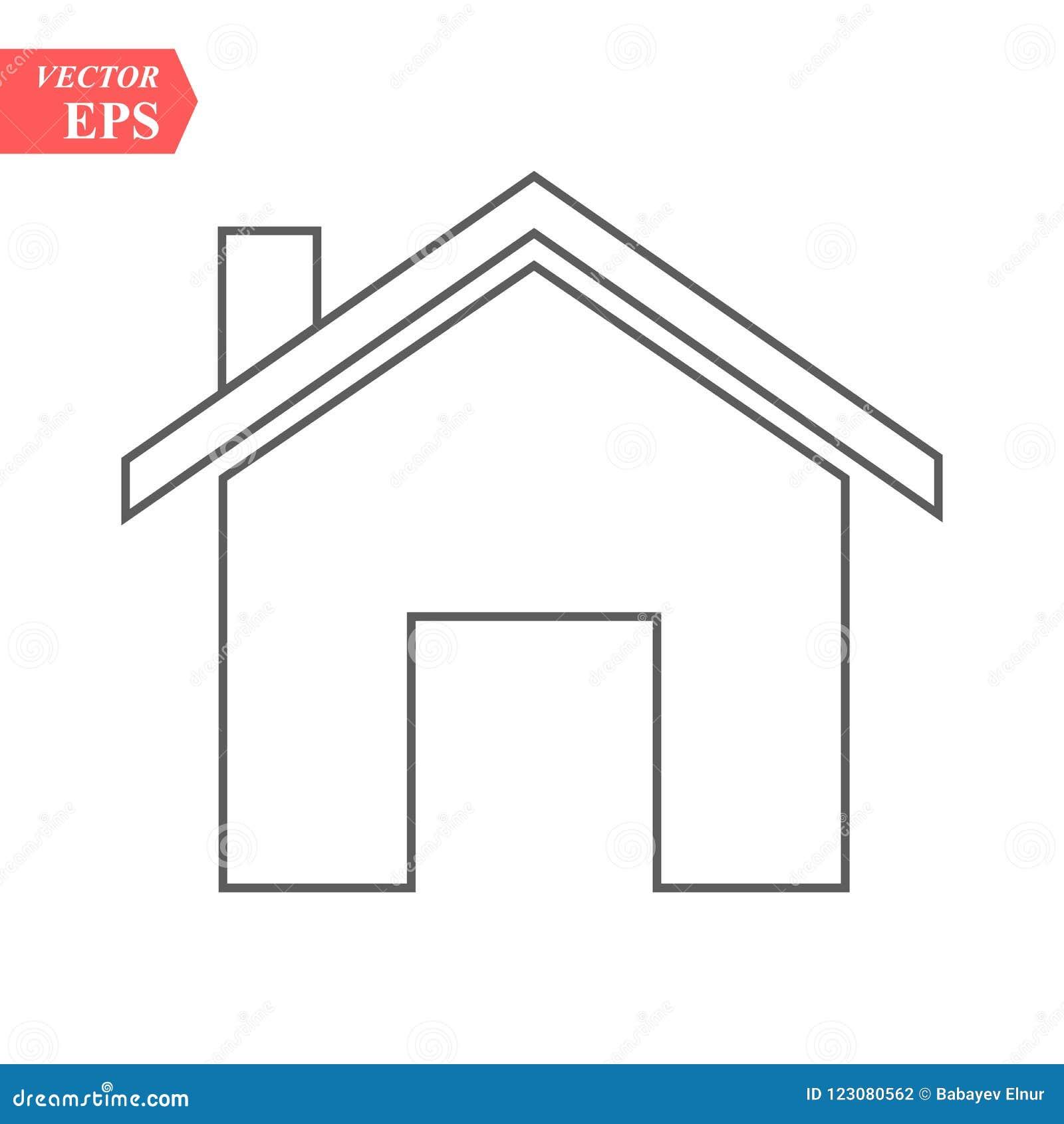 Icono casero del esquema aislado en fondo gris Pictograma de la casa Línea símbolo para su diseño del sitio web, logotipo, app, U