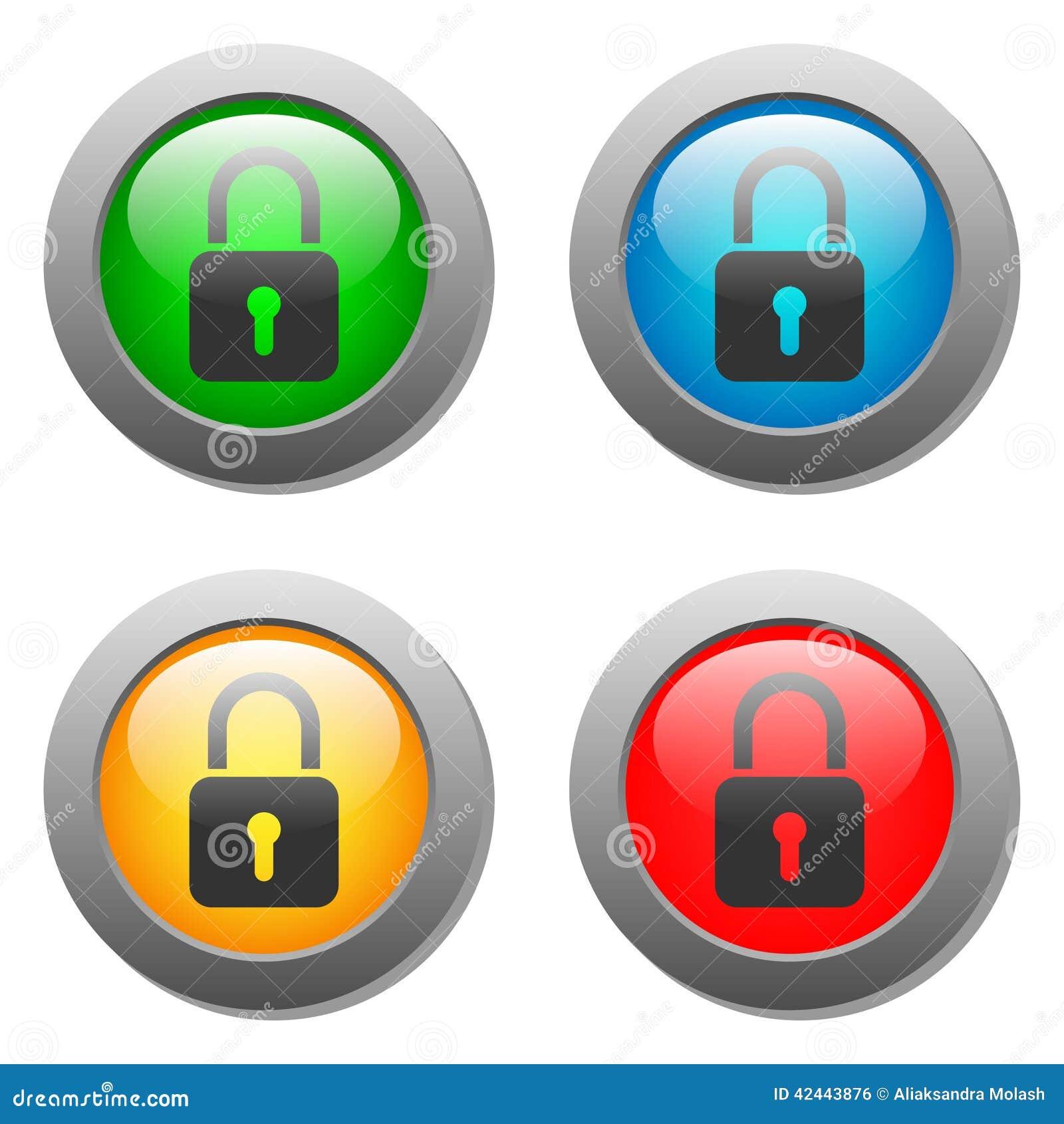 Icono cerrado de la cerradura en el sistema de cristal del botón