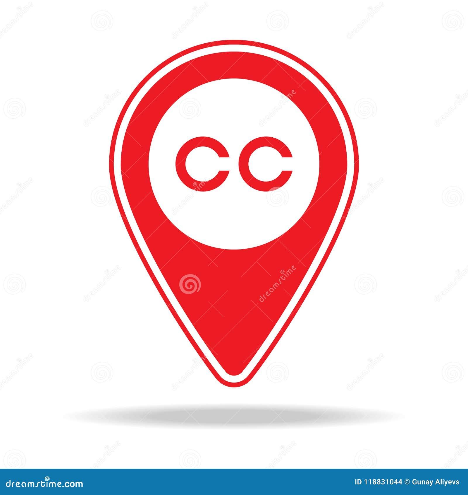 Icono cerrado del perno del mapa que subtitula Elemento del icono amonestador del perno de la navegación para los apps móviles de