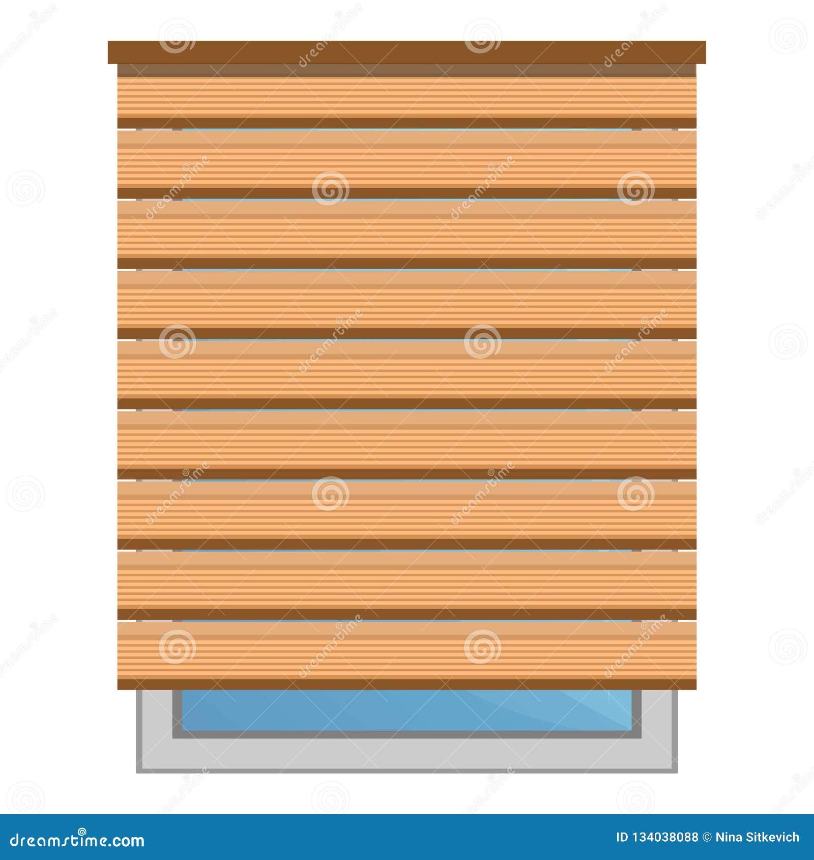 Icono ciego del sol de madera, estilo de la historieta