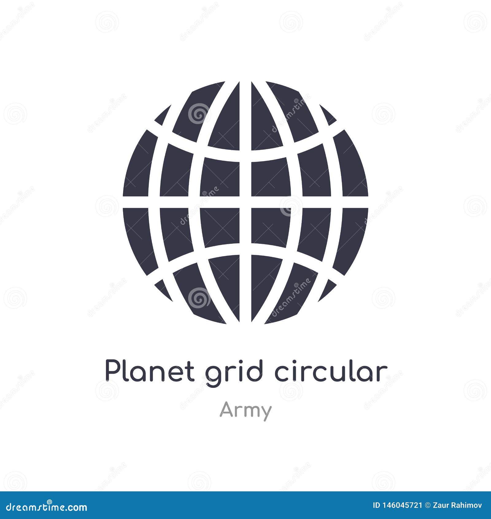 Icono circular de la rejilla del planeta ejemplo circular aislado del vector del icono de la rejilla del planeta de la colección