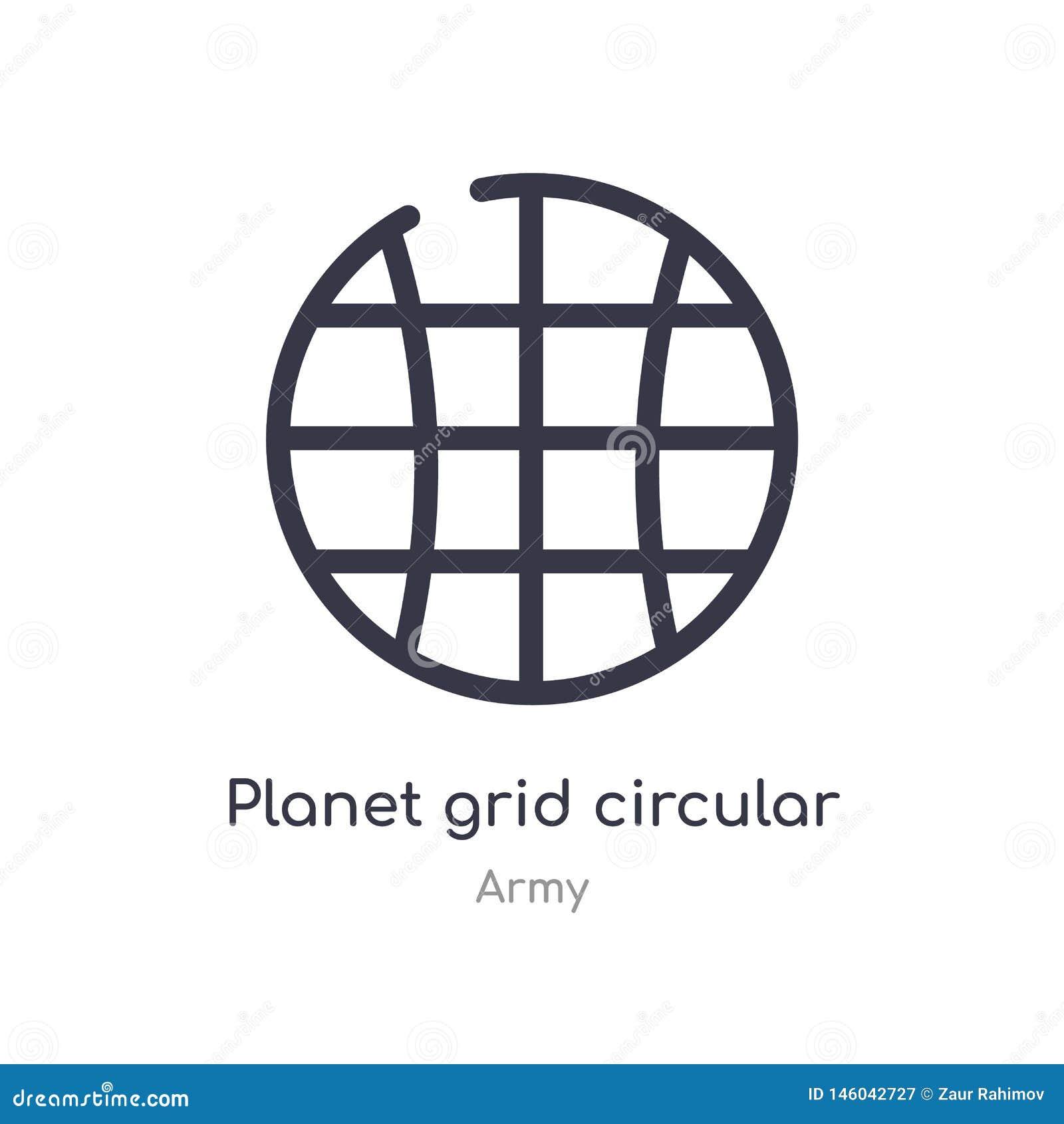 Icono circular del esquema de la rejilla del planeta l?nea aislada ejemplo del vector de la colecci?n del ej?rcito rejilla fina e