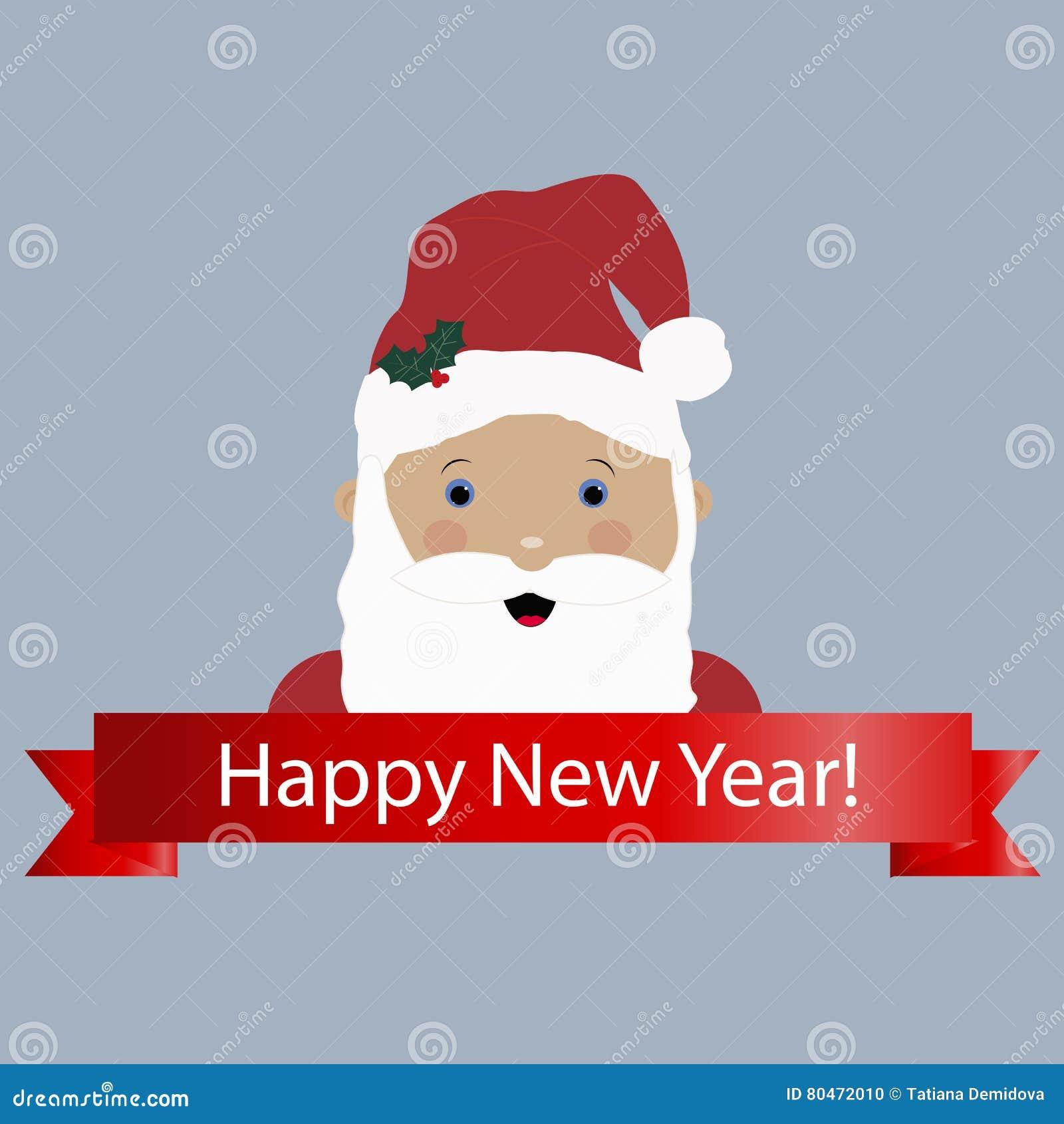 Icono coloreado con una historieta Santa Claus y Feliz Año Nuevo de la bandera
